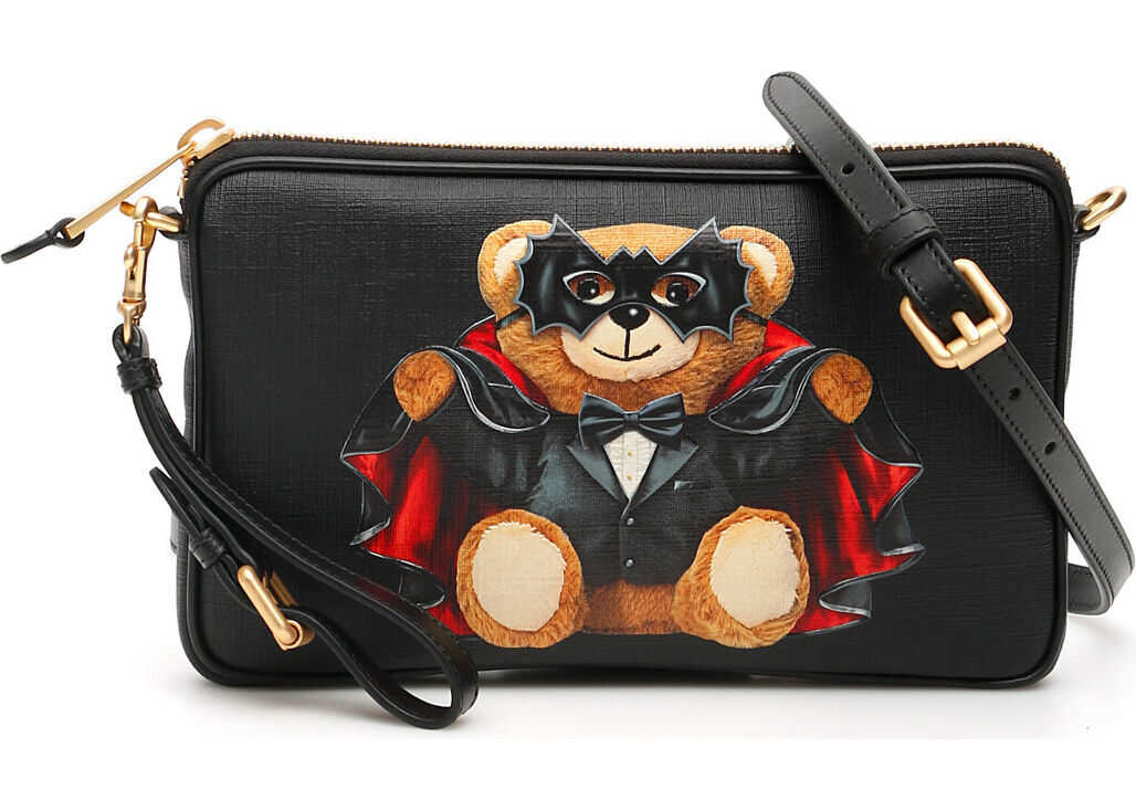 Moschino Bat Teddy Bear Crossbody Bag FANTASIA NERO