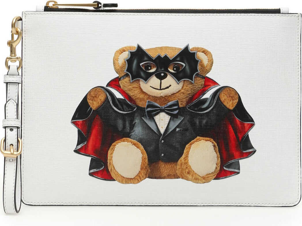 Moschino Bat Teddy Bear Pouch FANTASIA BIANCO