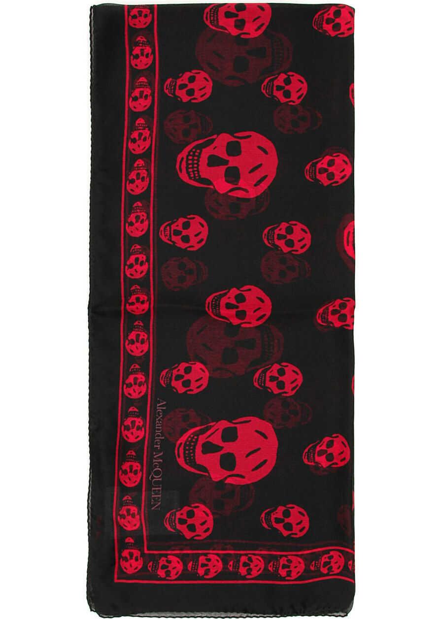 Alexander McQueen Silk Skull Scarf BLACK FUXIA