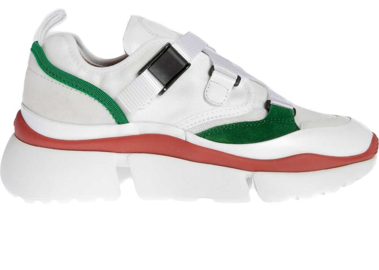 Chloe Sonnie Low Sneakers In Jungle Green White