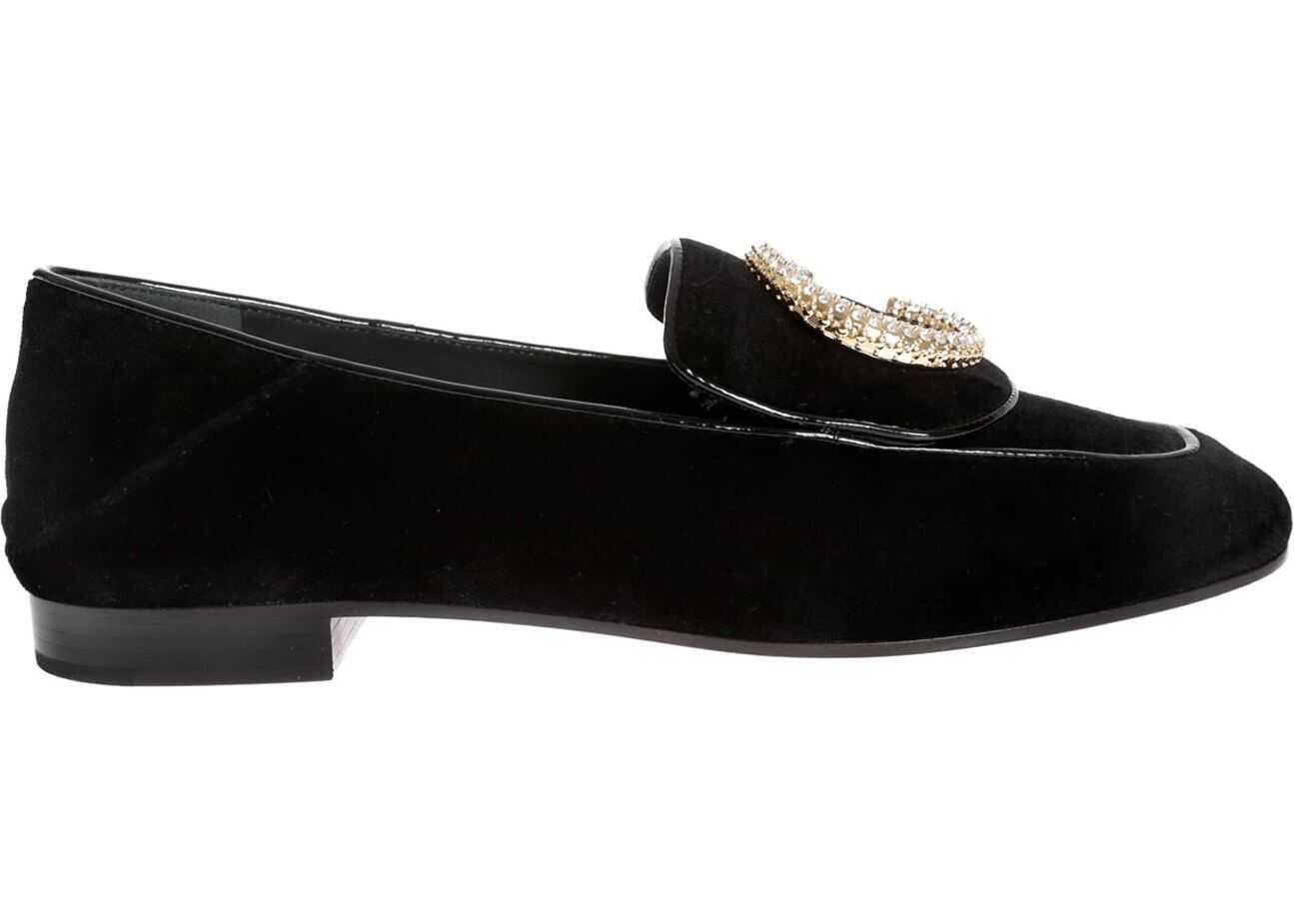 Chloe Loafers In Black Velvet With Crystal Decoration Black