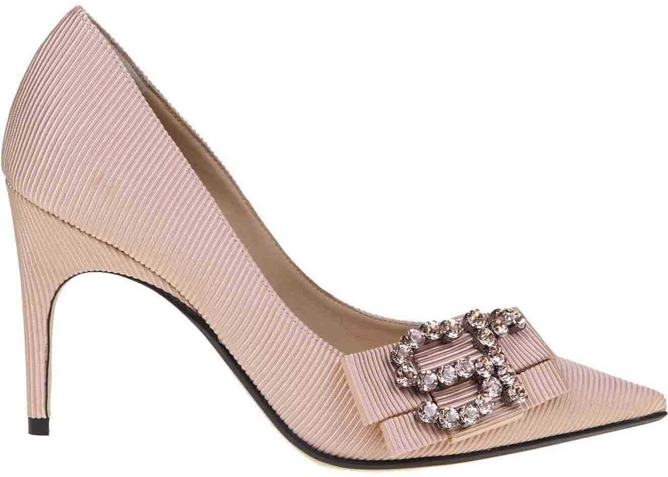Sergio Rossi Draped Pumps In Pink Fabric Pink
