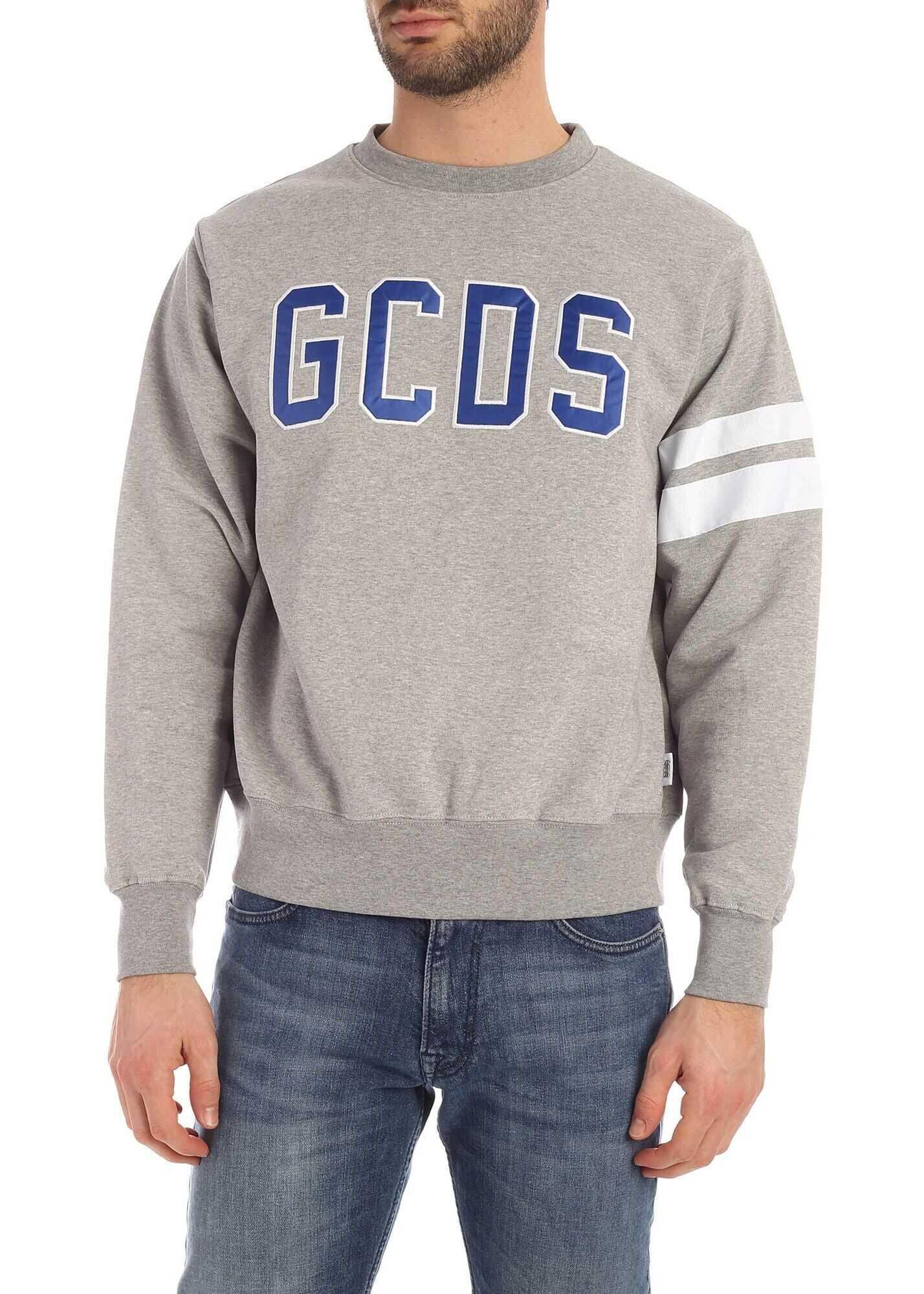 GCDS Blue Logo Sweatshirt In Grey Grey imagine
