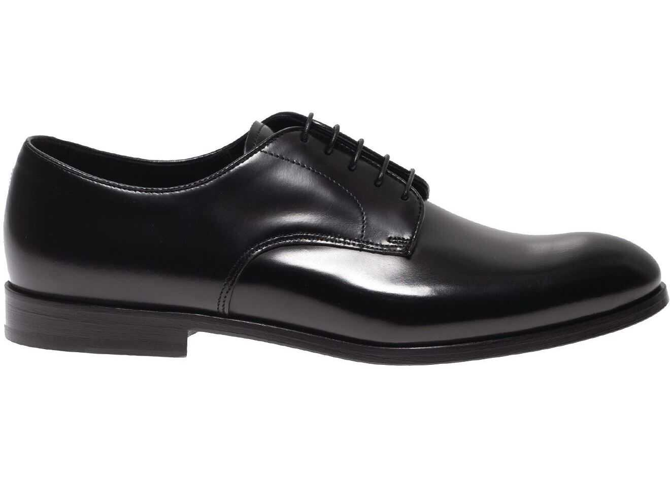 Doucal's Derby Shoes In Black Brushed Leather DU1003RENNUF028NN00 Black imagine b-mall.ro