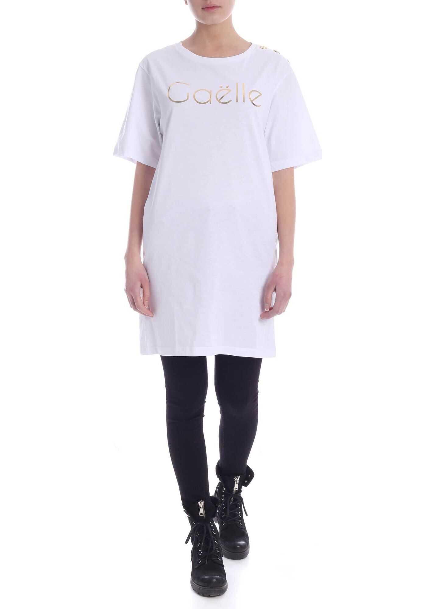 GAëLLE Paris Laminated Print Mini Dress In White White