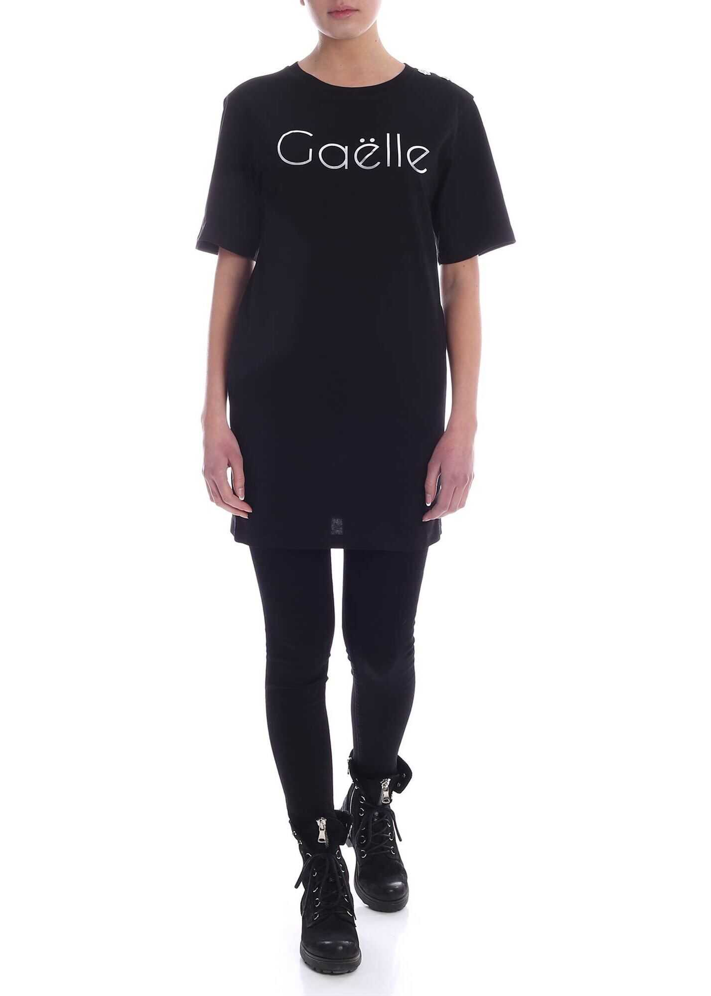 GAëLLE Paris Laminated Print Mini Dress In Black Black