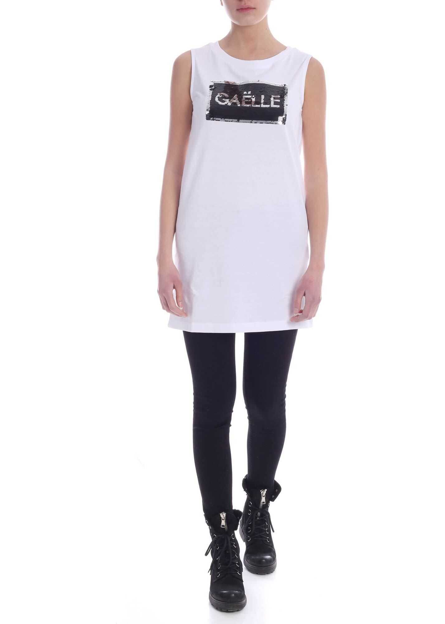 GAëLLE Paris Sequin Logo Dress In White White