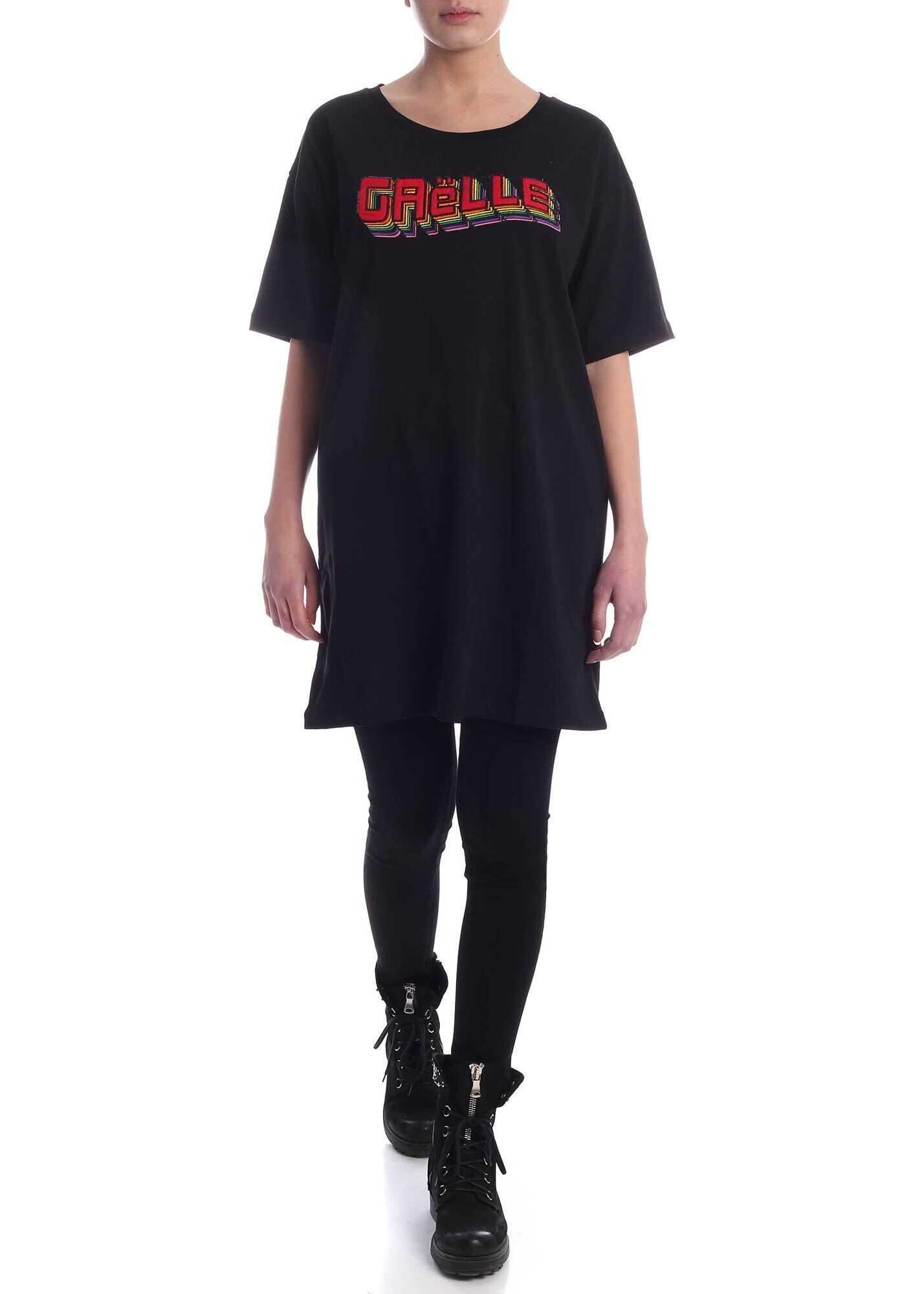 GAëLLE Paris Rainbow Logo Crewneck Dress In Black Black