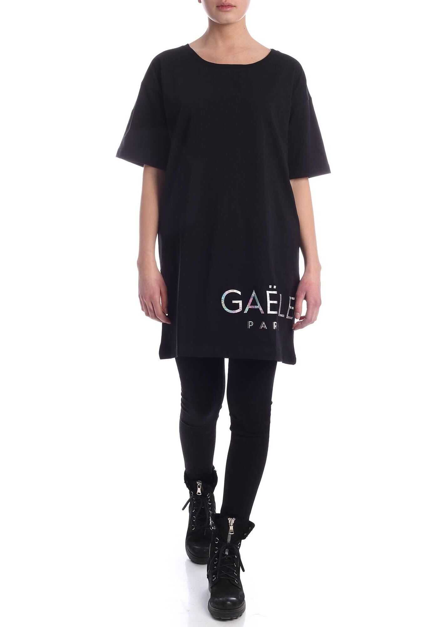 GAëLLE Paris Iridescent Logo Dress In Black Black