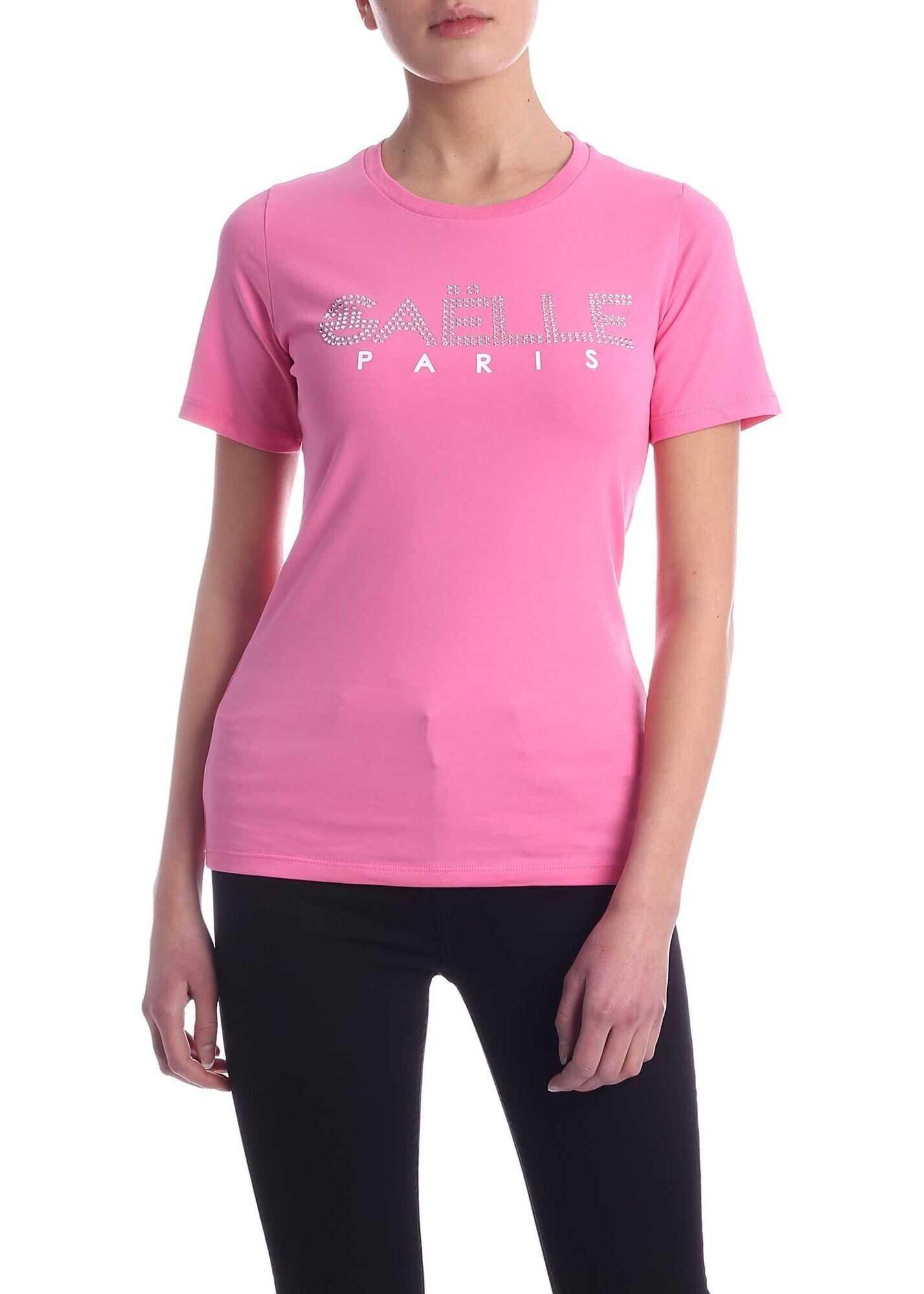GAëLLE Paris Rhinestone Logo T-Shirt In Pink Pink