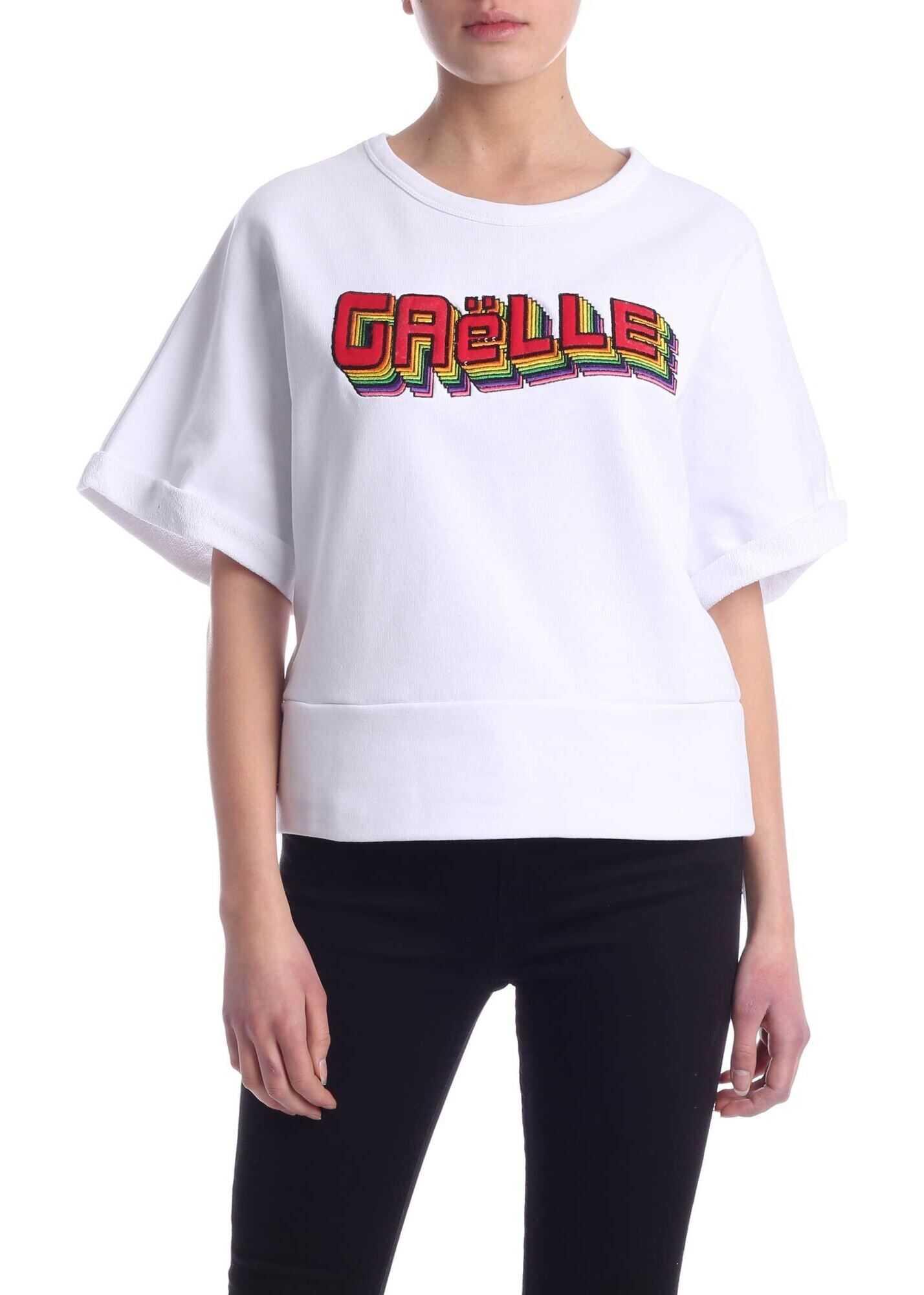 GAëLLE Paris Gaelle Logo Crop Sweatshirt In White White