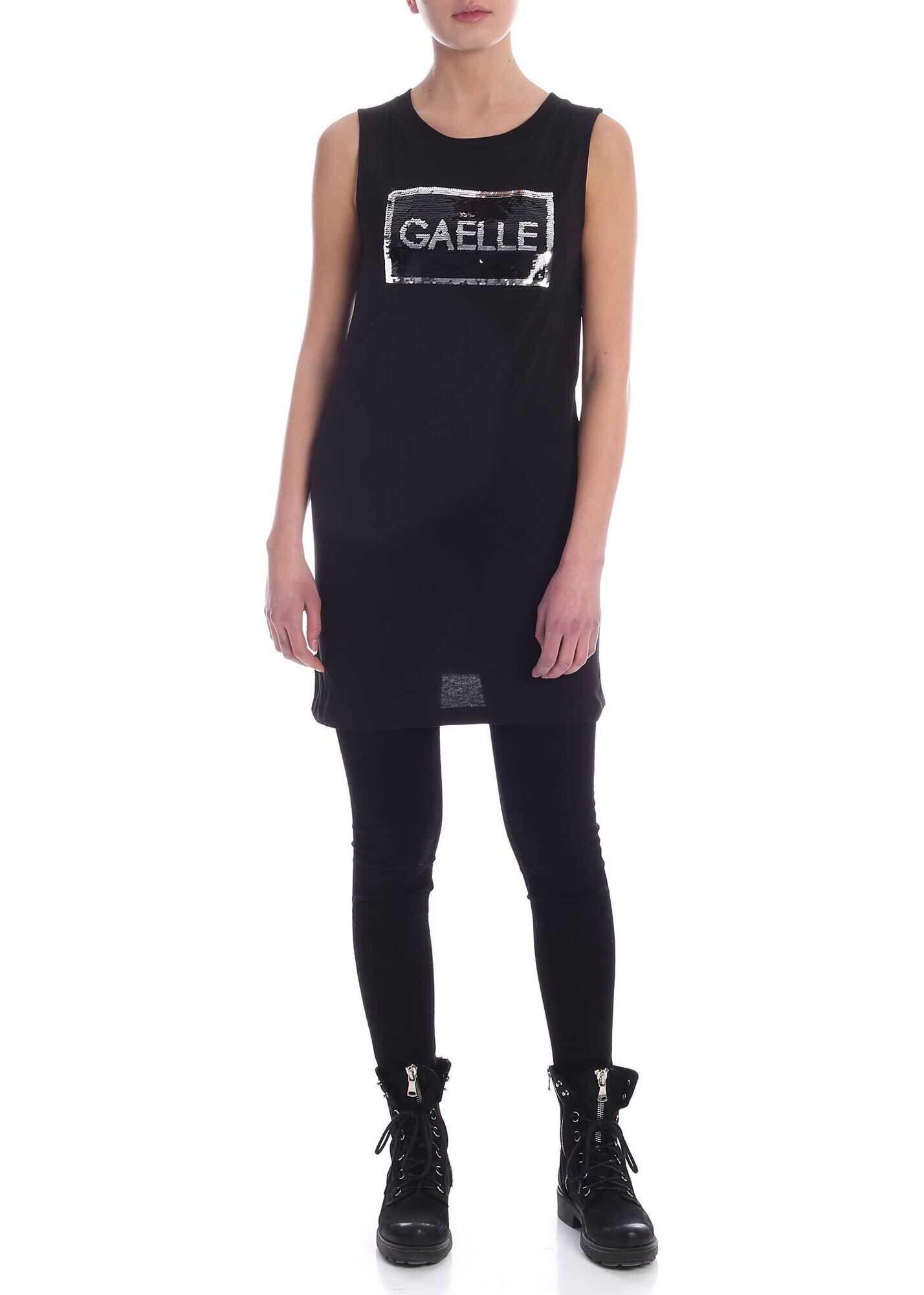 GAëLLE Paris Sequin Logo Dress In Black Black
