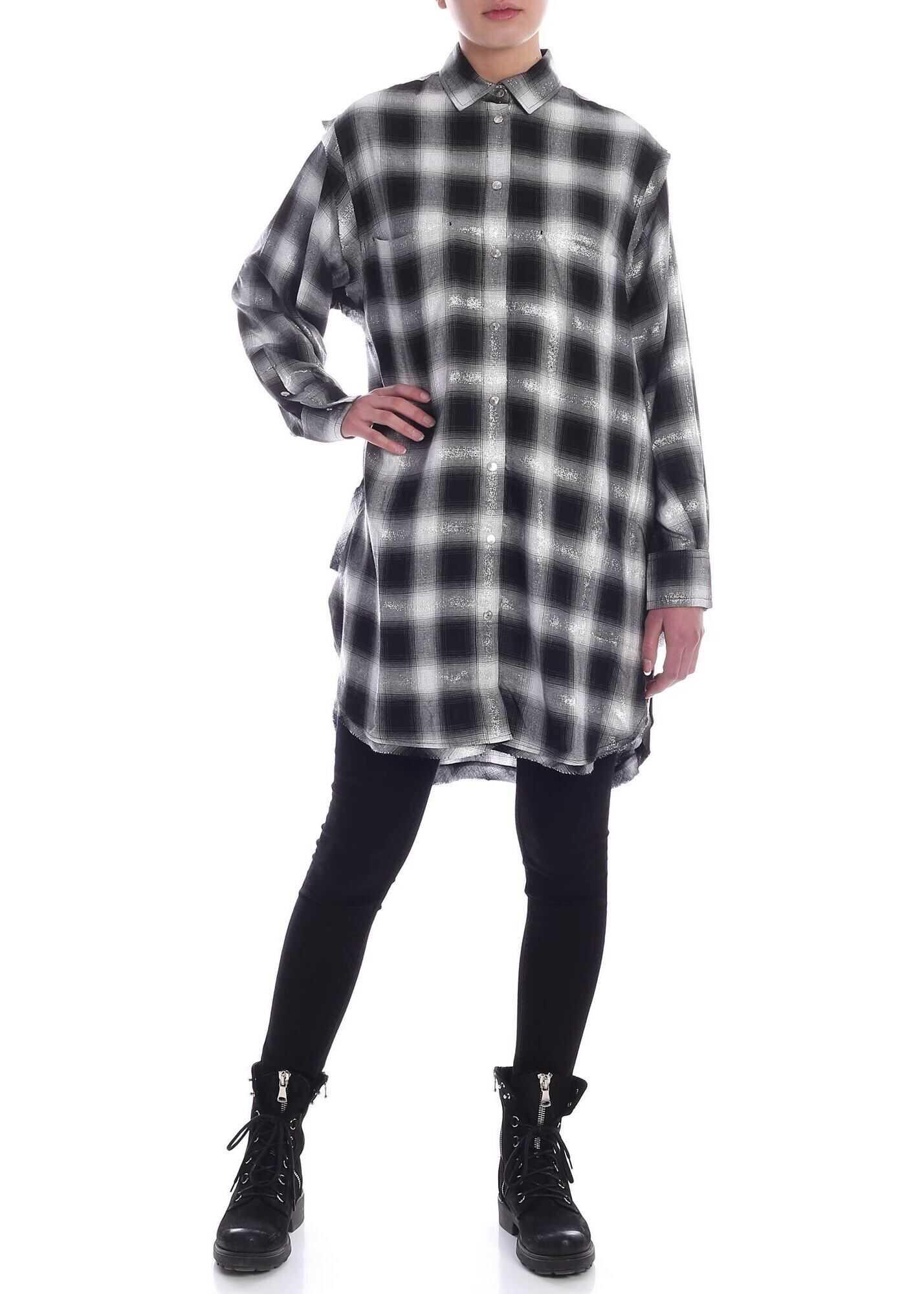Diesel Sunny Dress In Black Grey And White Black