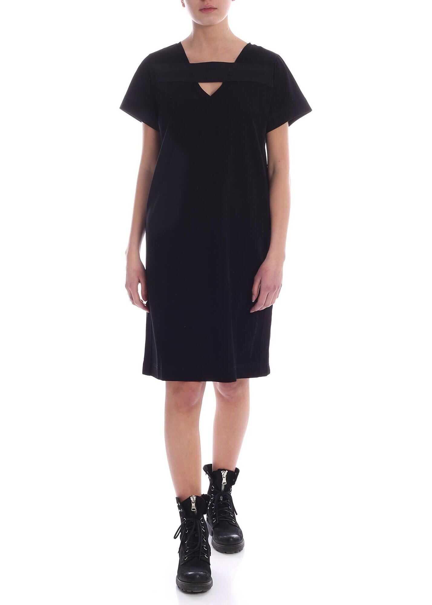 Diesel Stripe Dress In Black Black