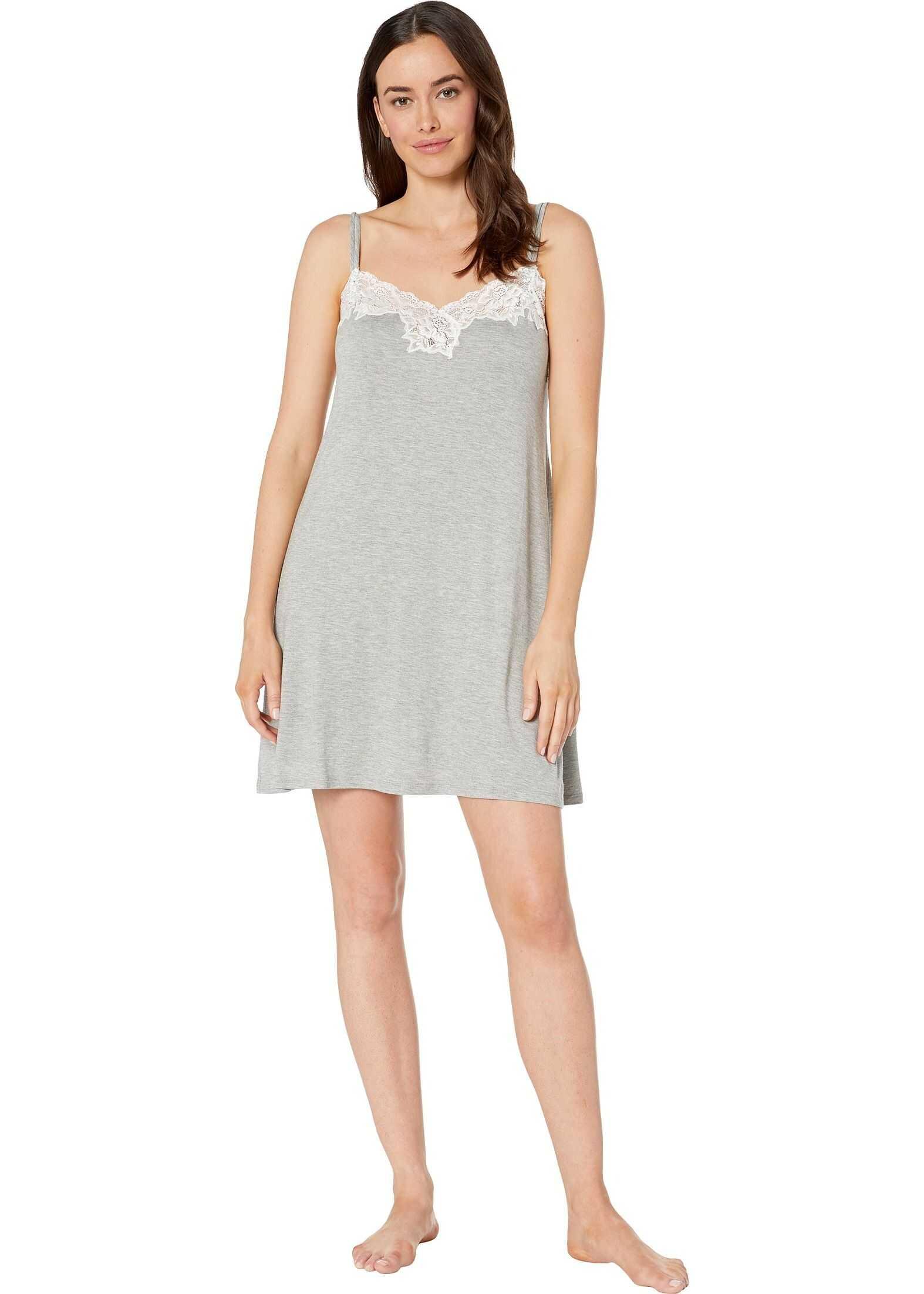 Ralph Lauren Double Strap Knit Lace Chemise Grey Heather