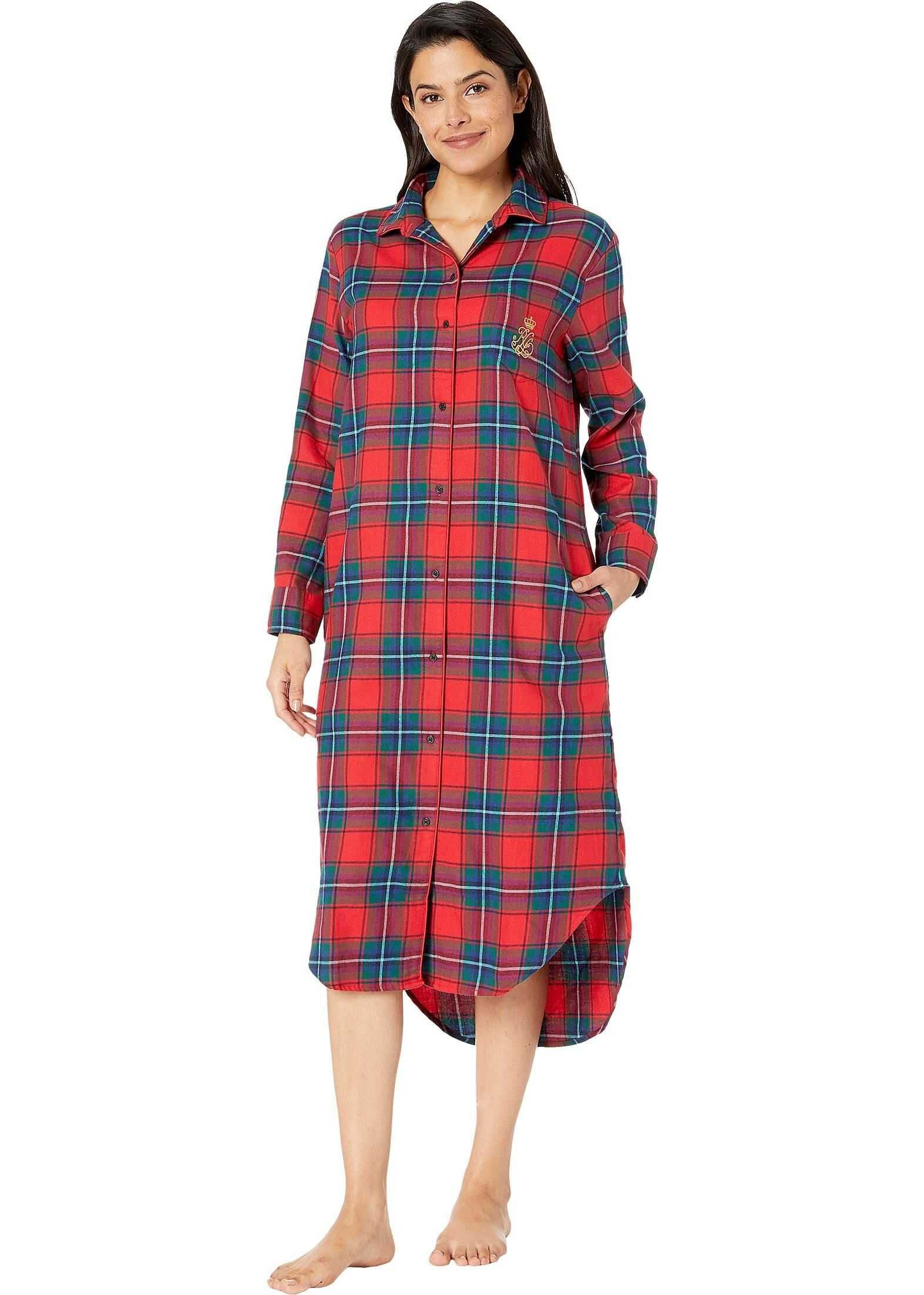 Ralph Lauren Brushed Twill Long Sleeve Rounded Notch Collar Ballet Sleepshirt Red Plaid