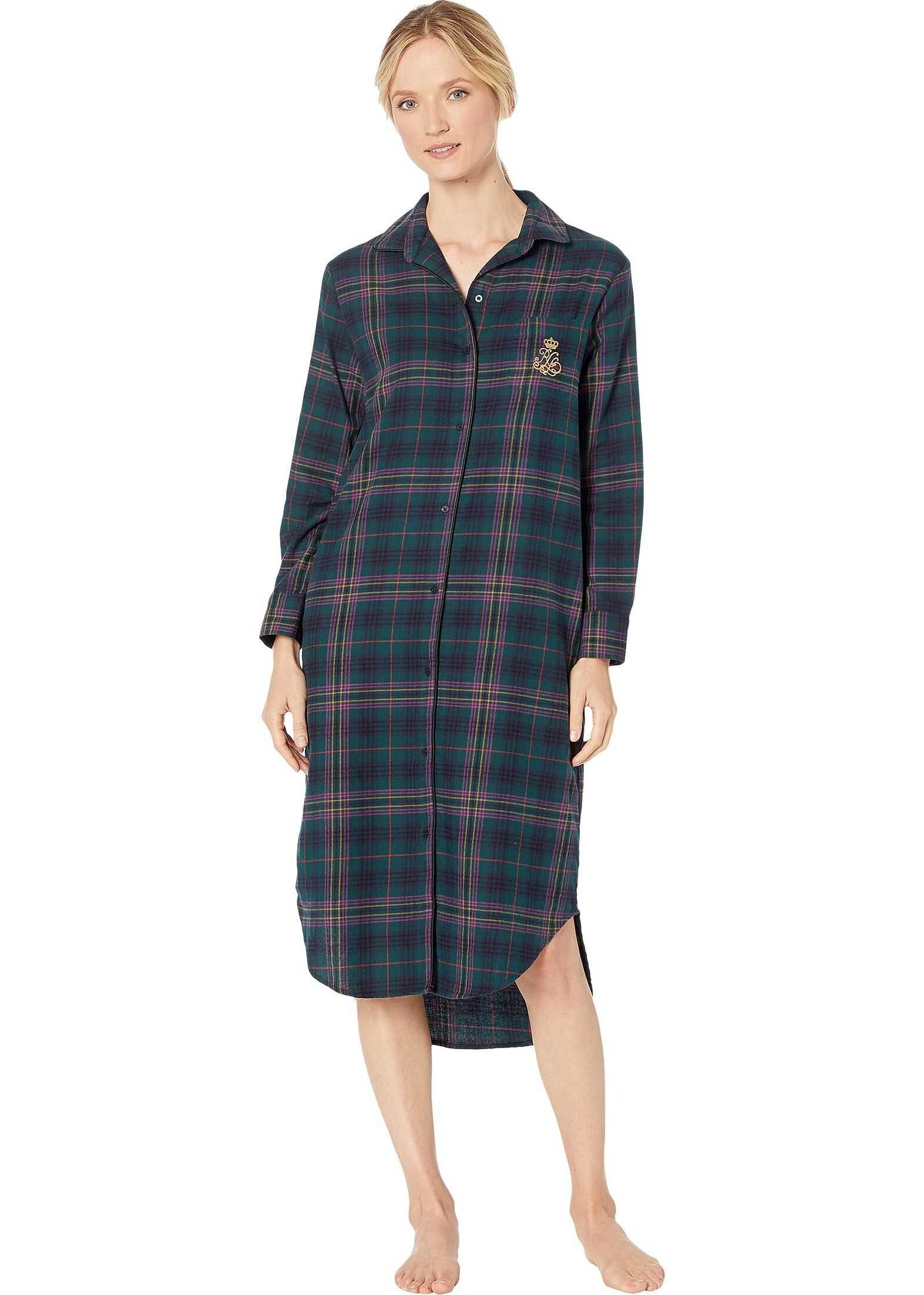 Ralph Lauren Brushed Twill Long Sleeve Rounded Notch Collar Ballet Sleepshirt Green Plaid