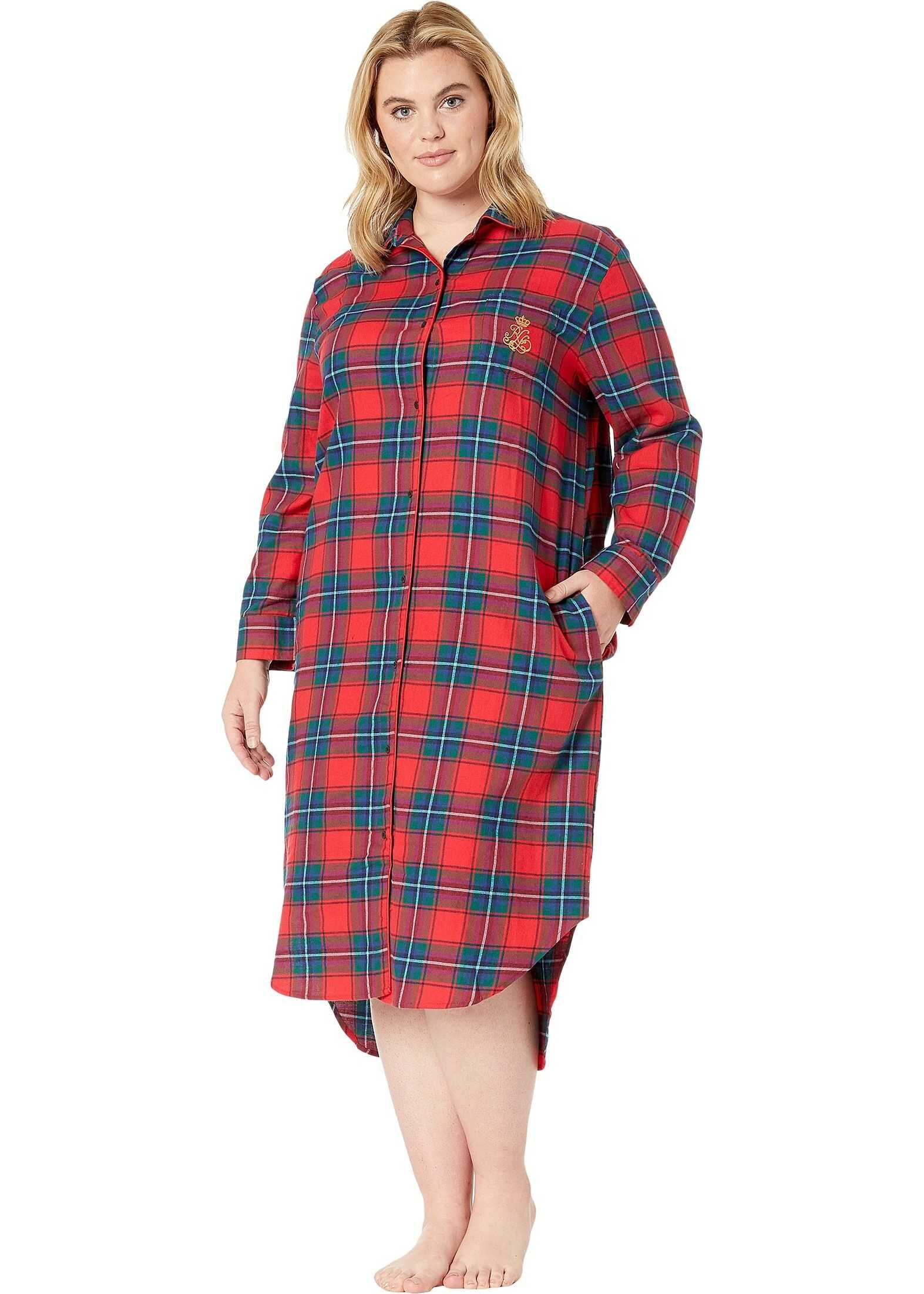 Ralph Lauren Plus Size Brushed Twill Long Sleeve Rounded Notch Collar Ballet Sleepshirt Red Plaid