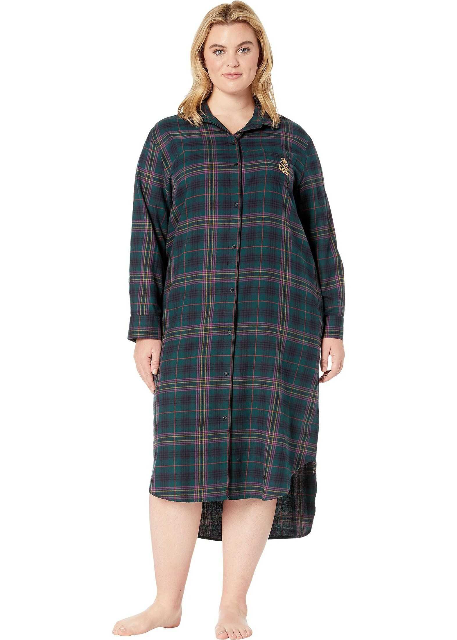 Ralph Lauren Plus Size Brushed Twill Long Sleeve Rounded Notch Collar Ballet Sleepshirt Green Plaid