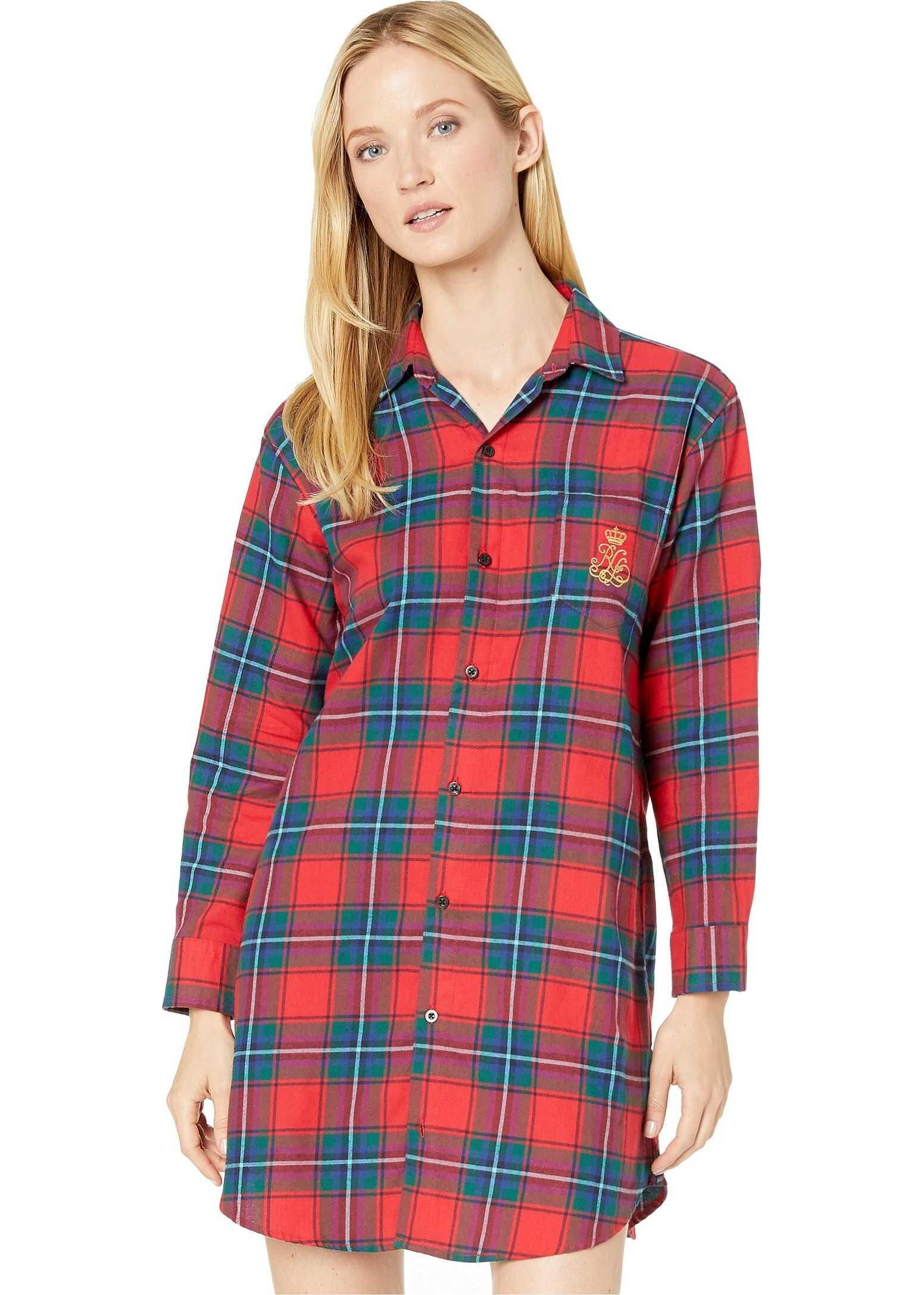 Ralph Lauren Brushed Twill Long Sleeve His Shirt Sleepshirt Red Plaid