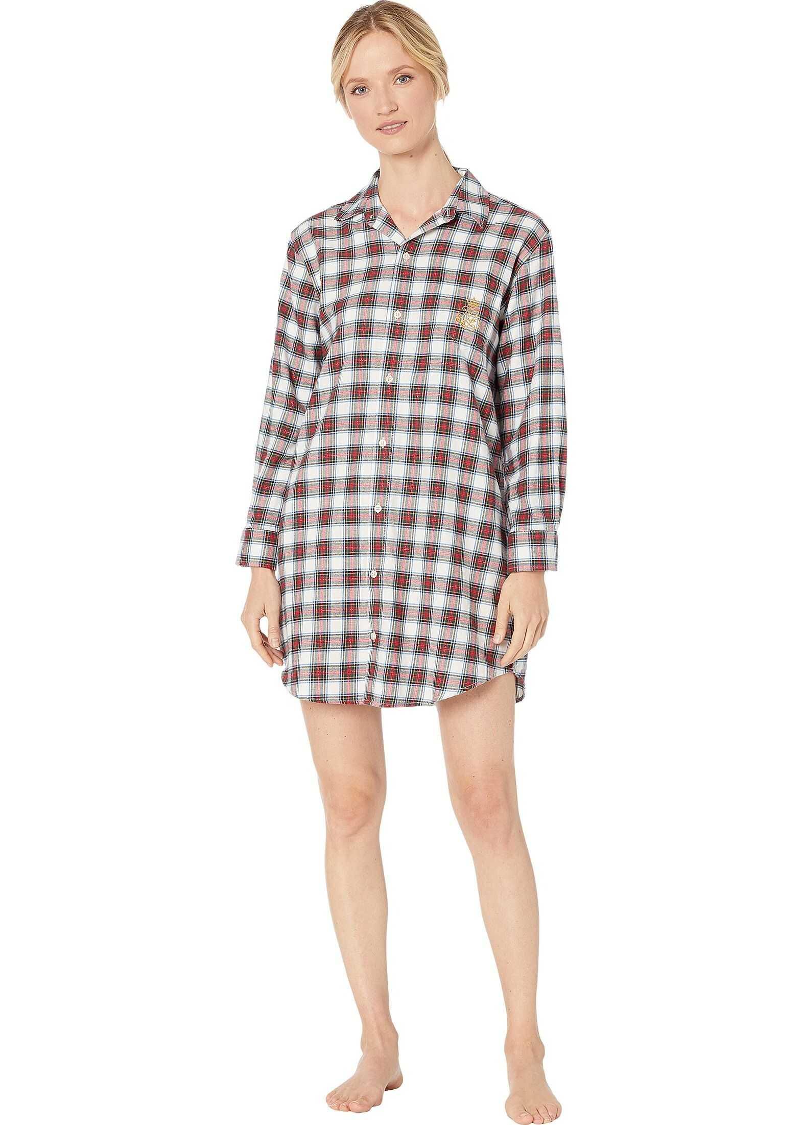 Ralph Lauren Brushed Twill Long Sleeve His Shirt Sleepshirt Ivory Plaid