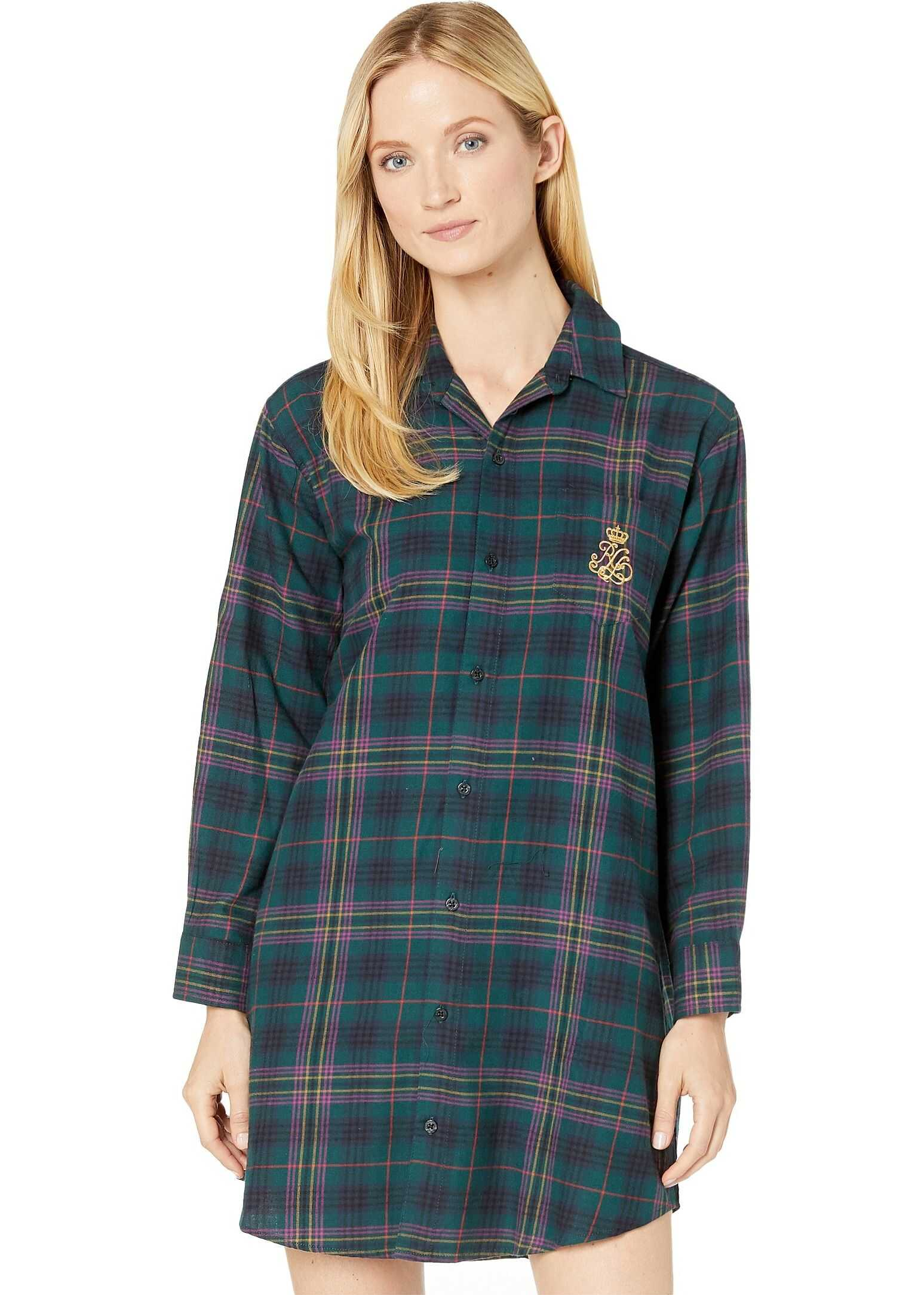 Ralph Lauren Brushed Twill Long Sleeve His Shirt Sleepshirt Green Plaid