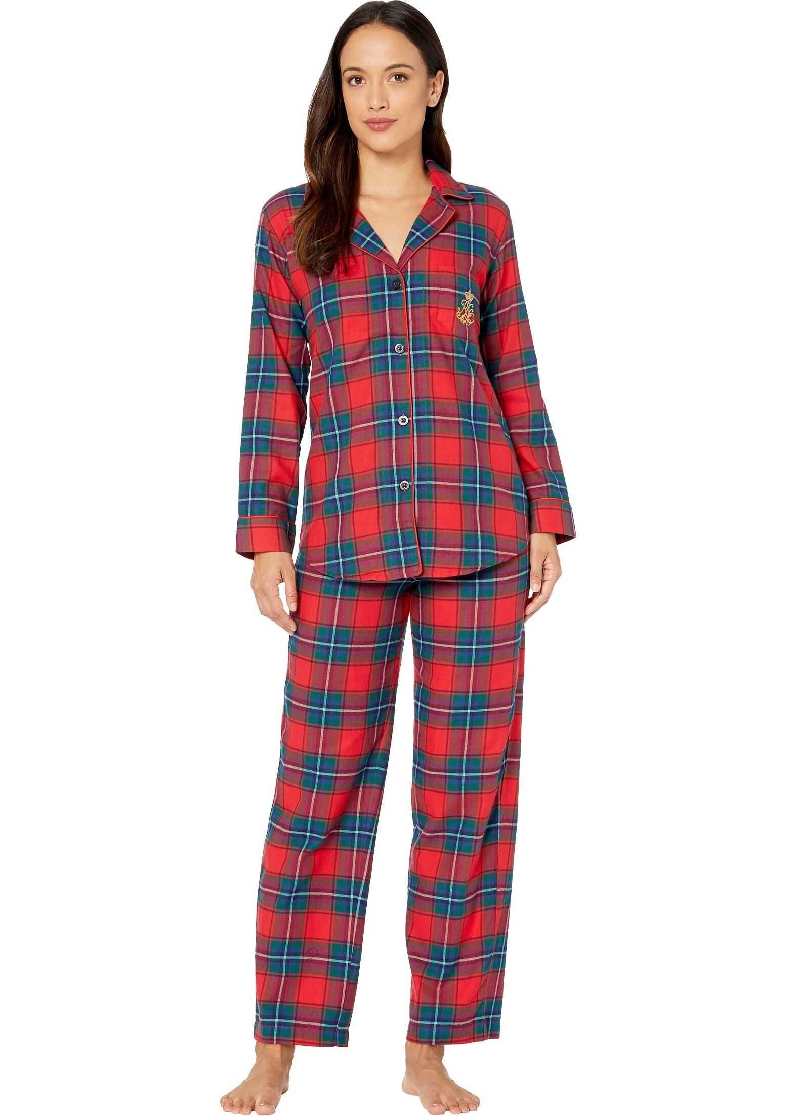 Ralph Lauren Petite Brushed Twill Long Sleeve Notch Collar Long Pants Pajama Set Red Plaid