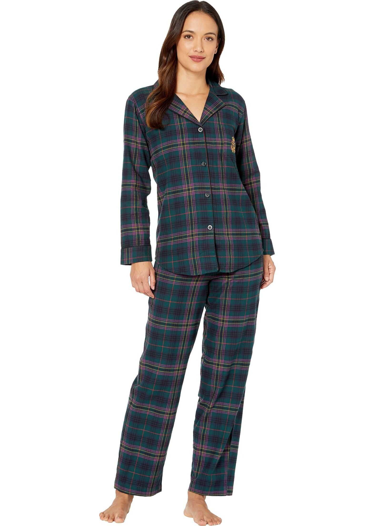 Ralph Lauren Petite Brushed Twill Long Sleeve Notch Collar Long Pants Pajama Set Green Plaid