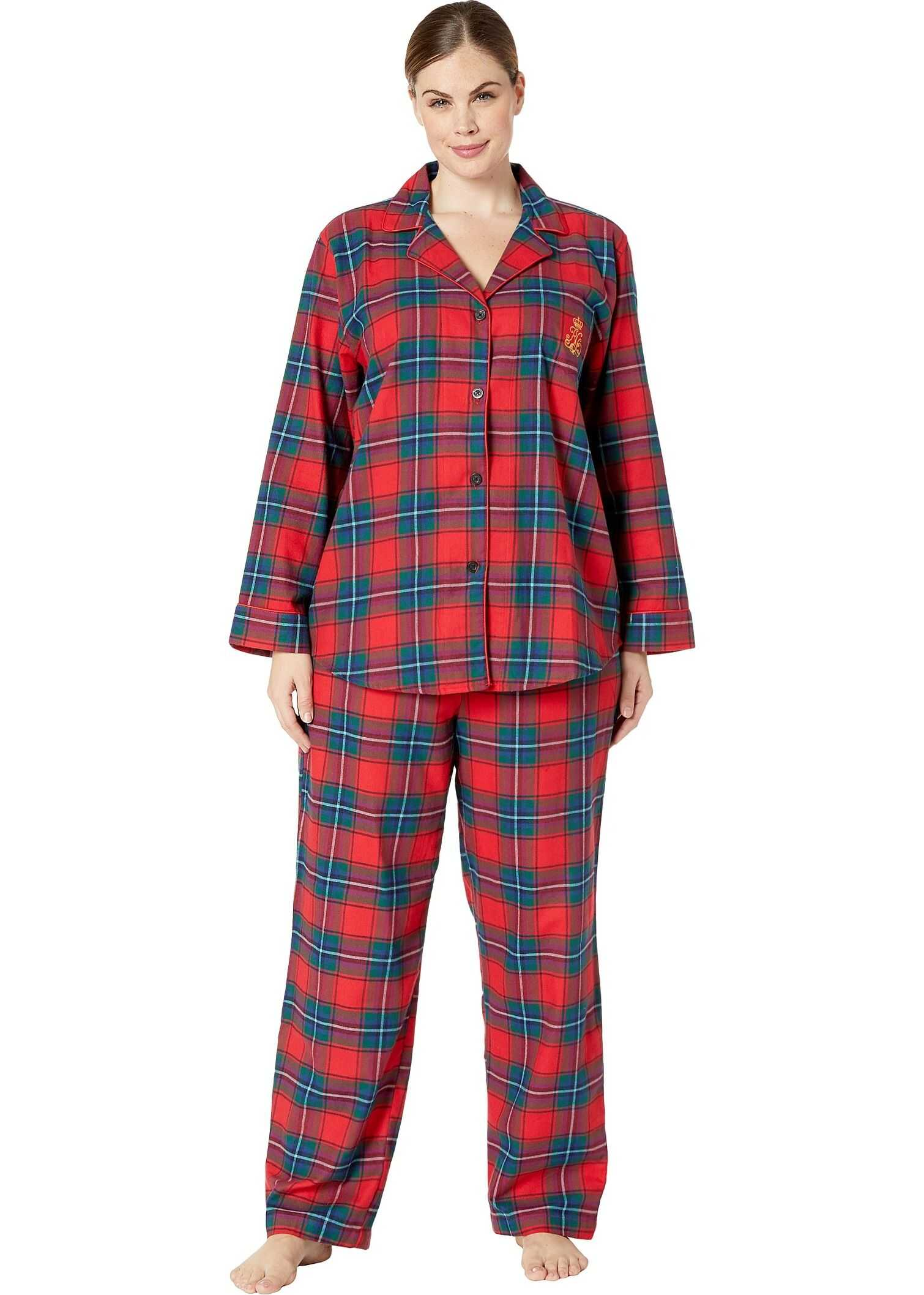 Ralph Lauren Plus Size Brushed Twill Long Sleeve Notch Collar Long Pants Pajama Set Red Plaid