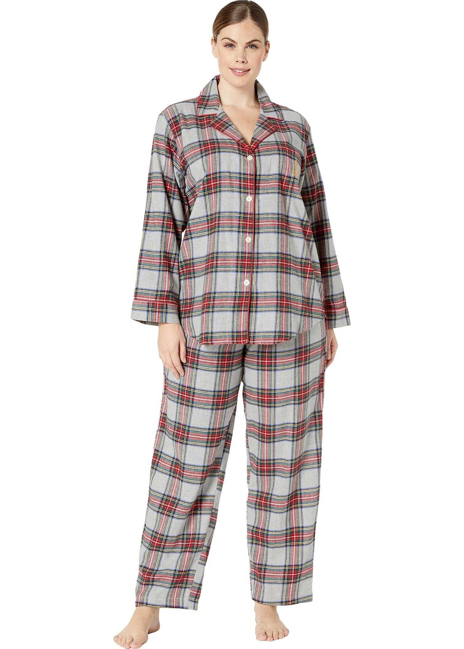 Ralph Lauren Plus Size Brushed Twill Long Sleeve Notch Collar Long Pants Pajama Set Multi Plaid