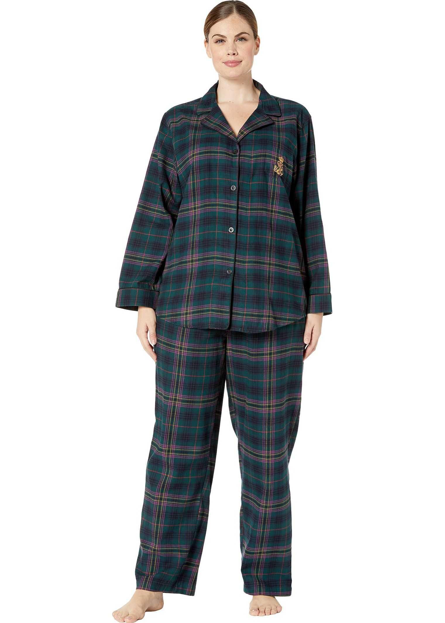 Ralph Lauren Plus Size Brushed Twill Long Sleeve Notch Collar Long Pants Pajama Set Green Plaid