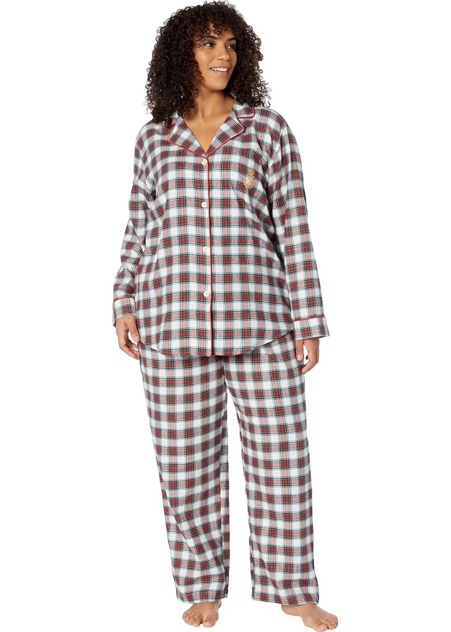 Ralph Lauren Plus Size Brushed Twill Long Sleeve Notch Collar Long Pants Pajama Set Ivory Plaid