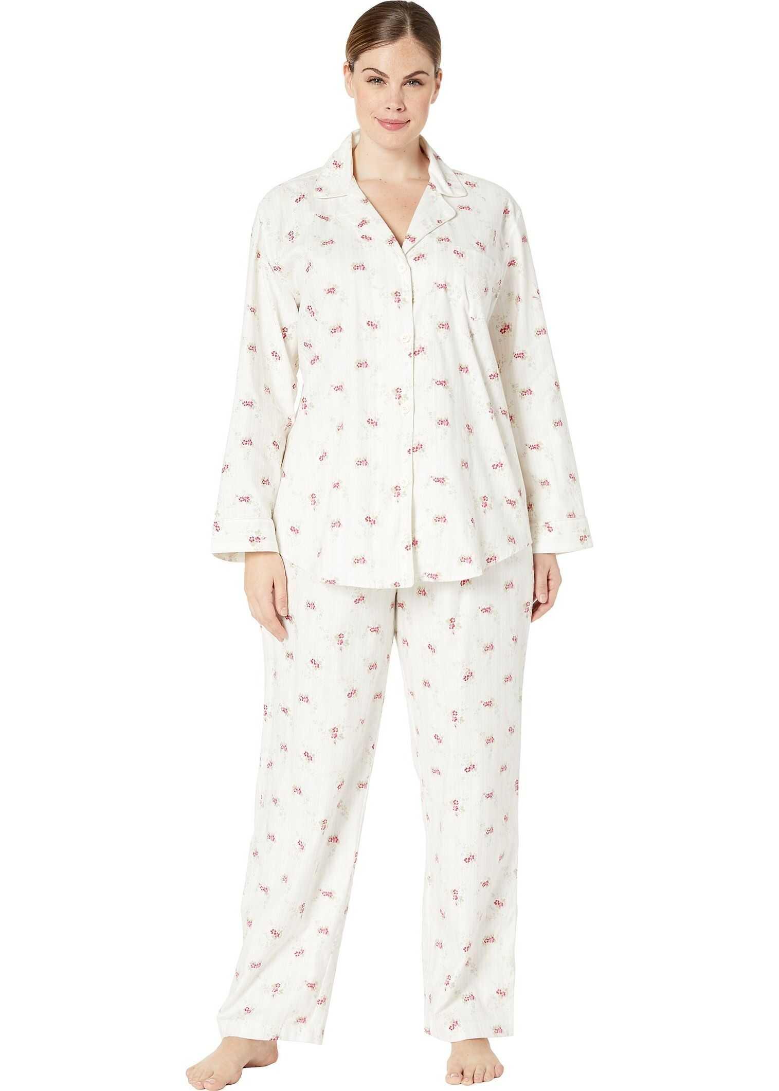 Ralph Lauren Plus Size Brushed Twill Long Sleeve Notch Collar Long Pants Pajama Set Ivory Floral