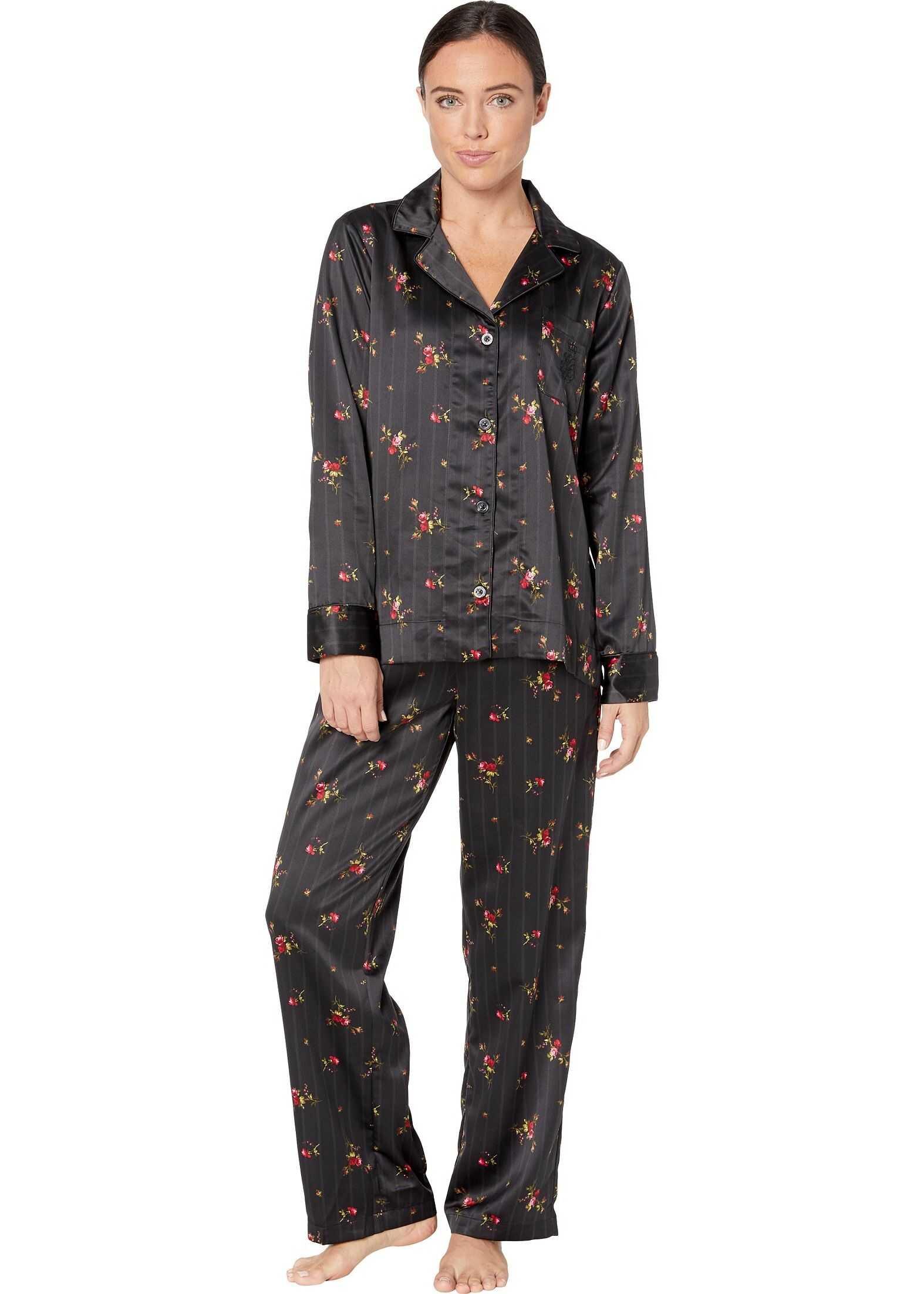Ralph Lauren Satin Long Sleeve Notch Collar Long Pants Pajama Set Black Print