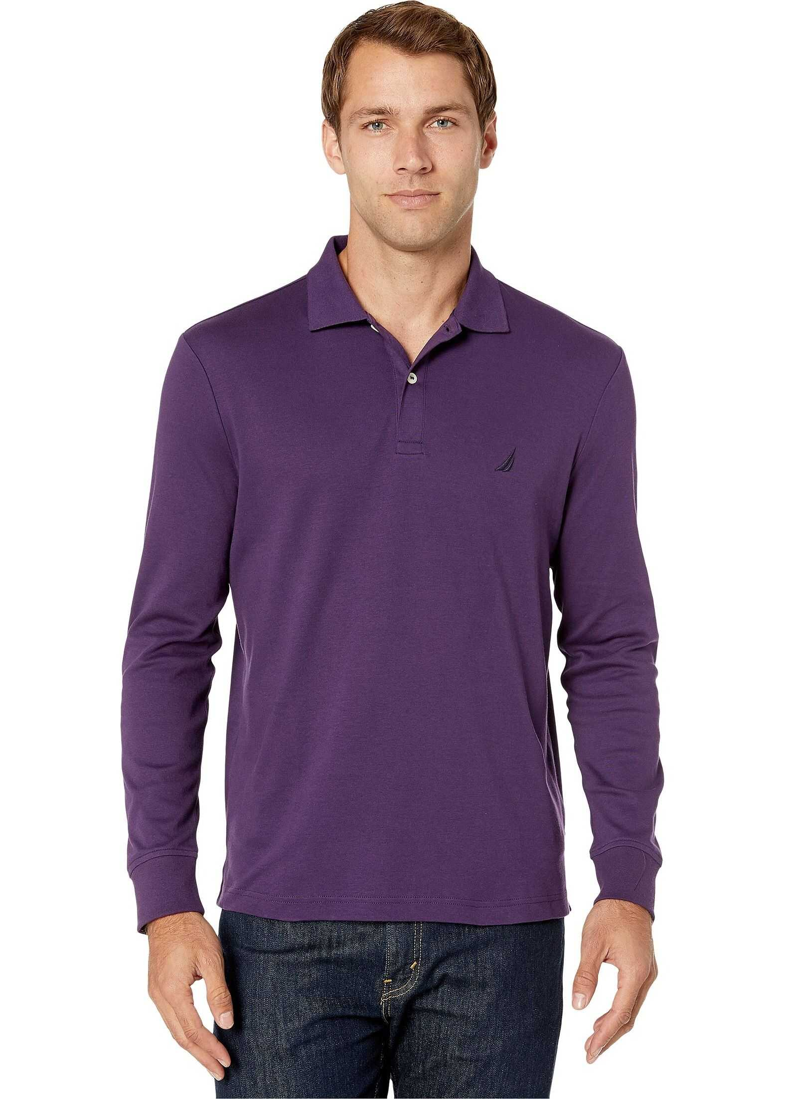 Nautica Long Sleeve Interlock Knit Polo Blackberry