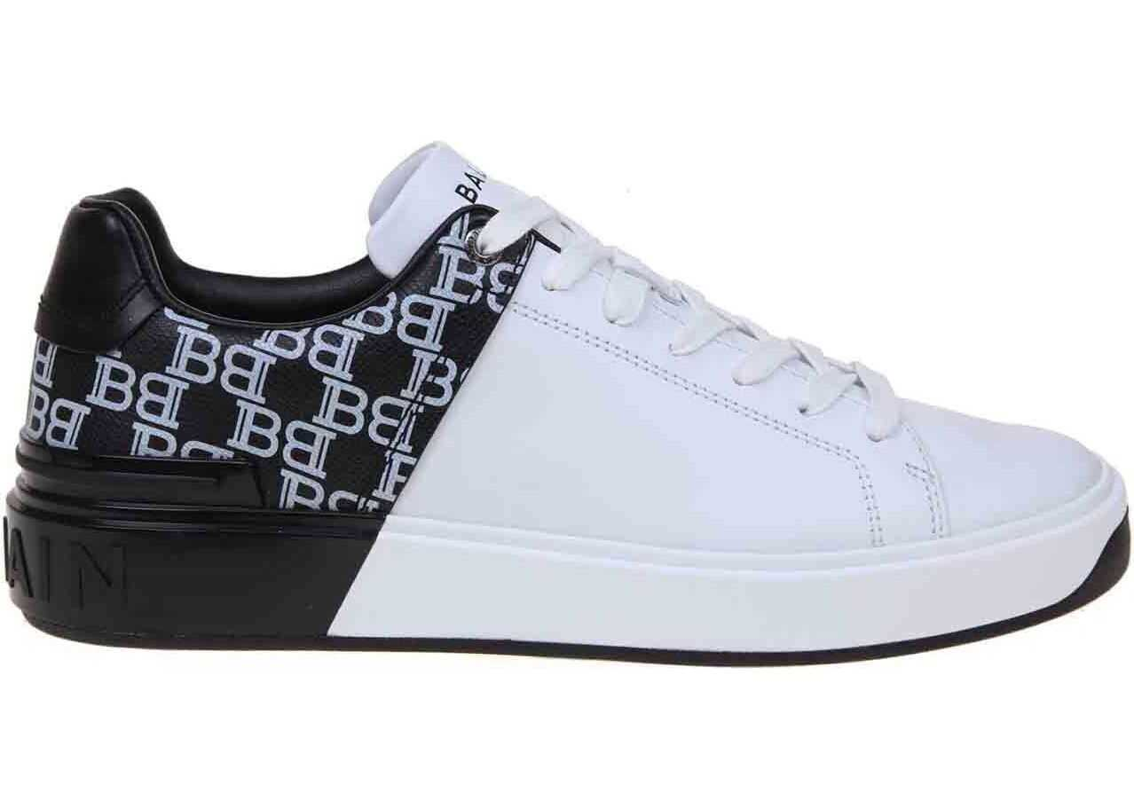 Balmain B-Court Sneakers In White And Black Monogram White