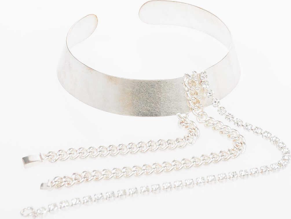Maison Margiela MM11 Rigid Choker Necklace with Jewel SILVER