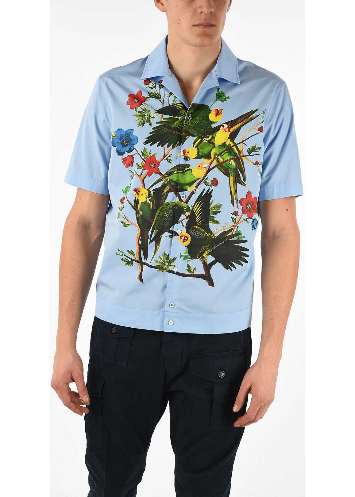 DSQUARED2 Short Sleeve Shirt with Parrot Print BLUE
