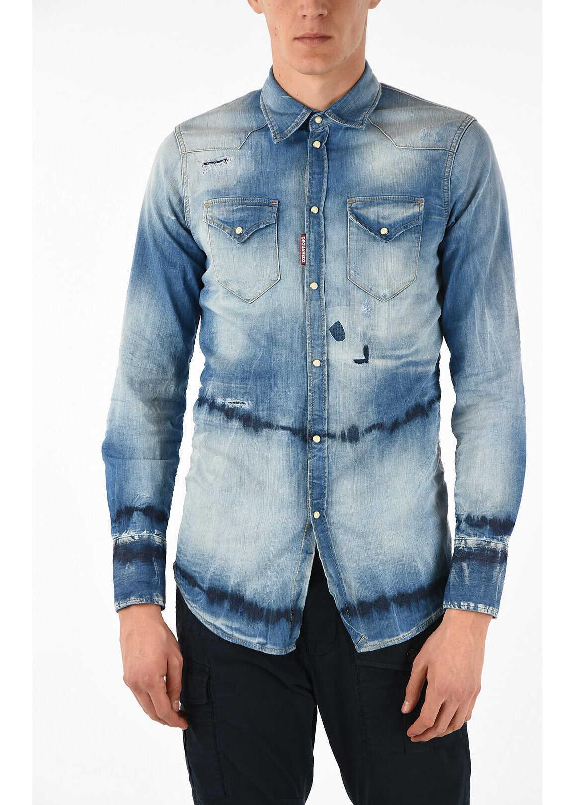 DSQUARED2 Denim Stone Washed Shirt BLUE