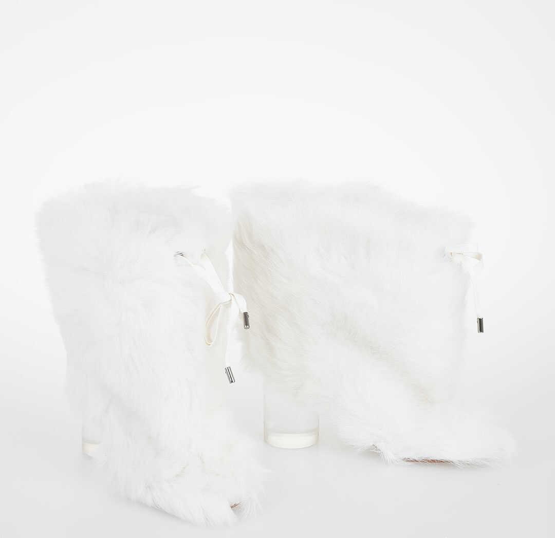 Maison Margiela MM22 8cm Real Fur Ankle Boot WHITE