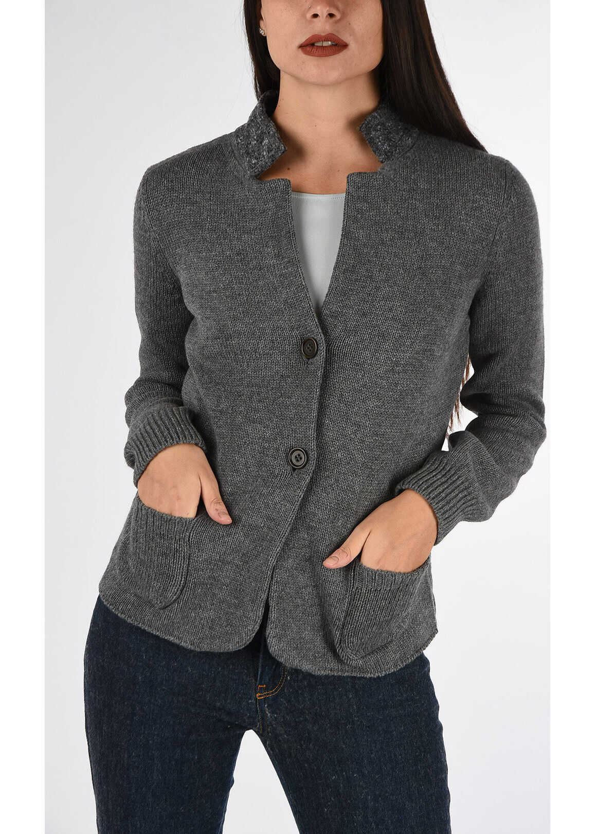 Armani COLLEZIONI Wool and Cashmere Knitted Blazer GRAY