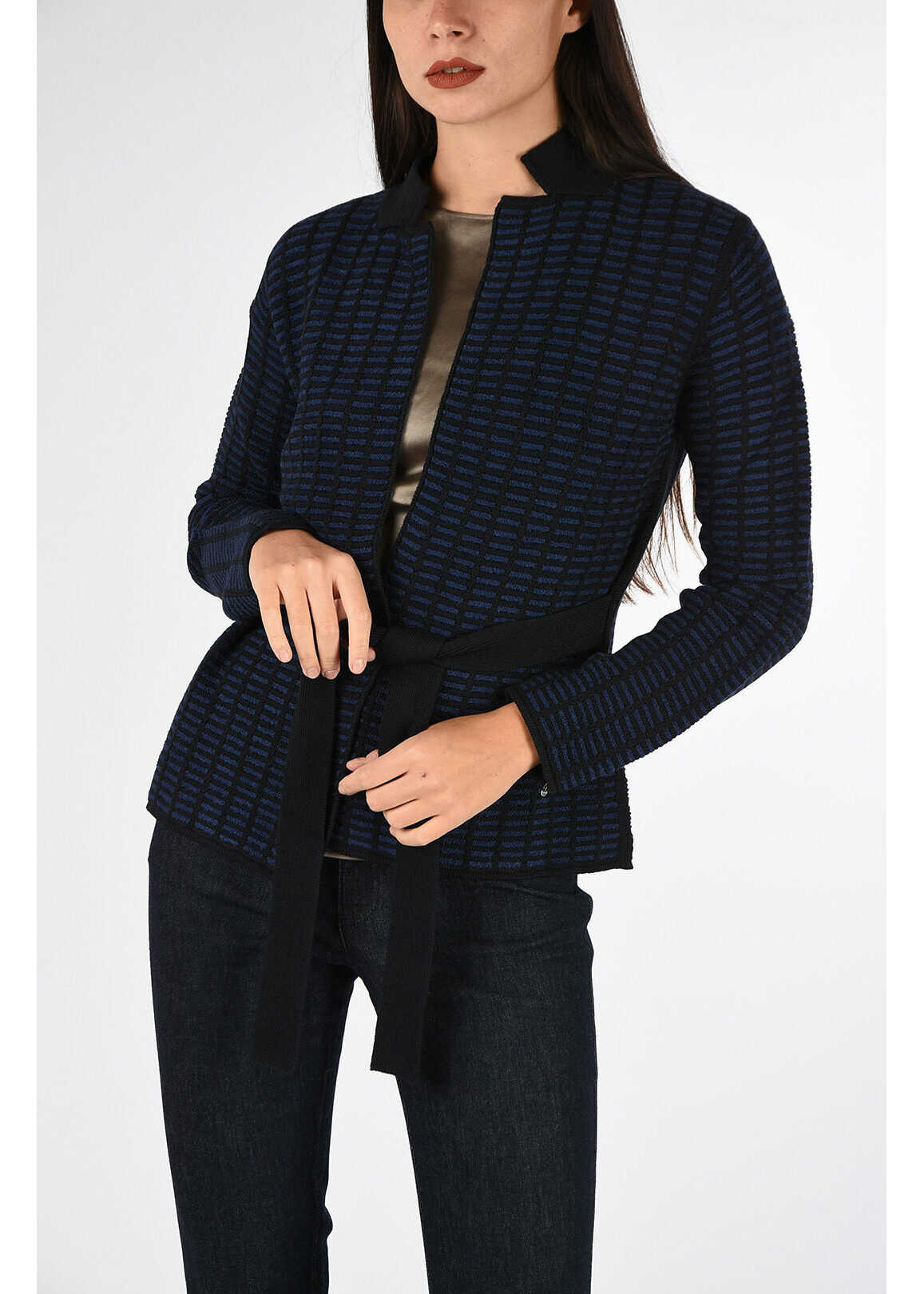 Armani COLLEZIONI Cardigan with Belt BLUE