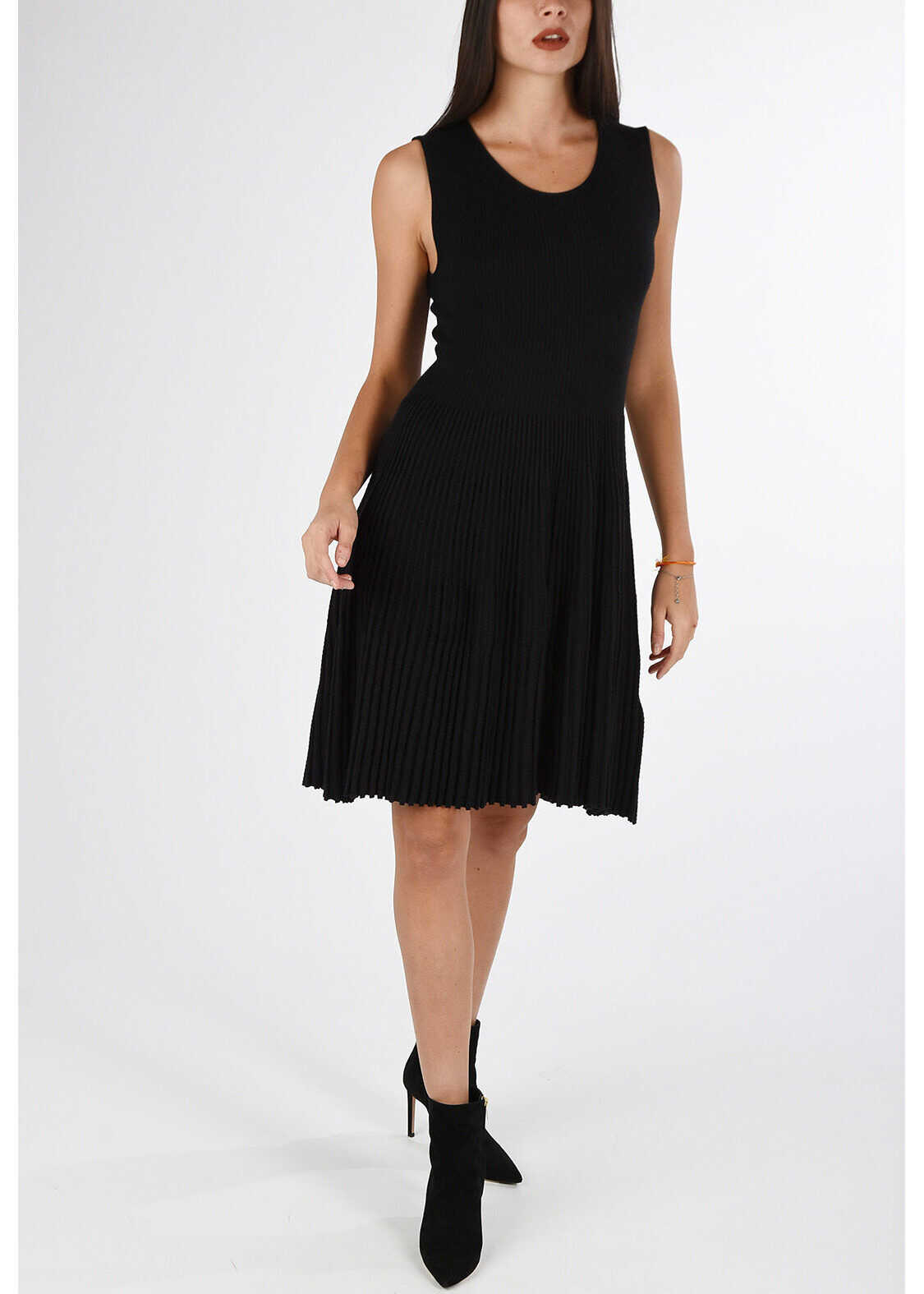 Armani COLLEZIONI Pleated Dress BLACK