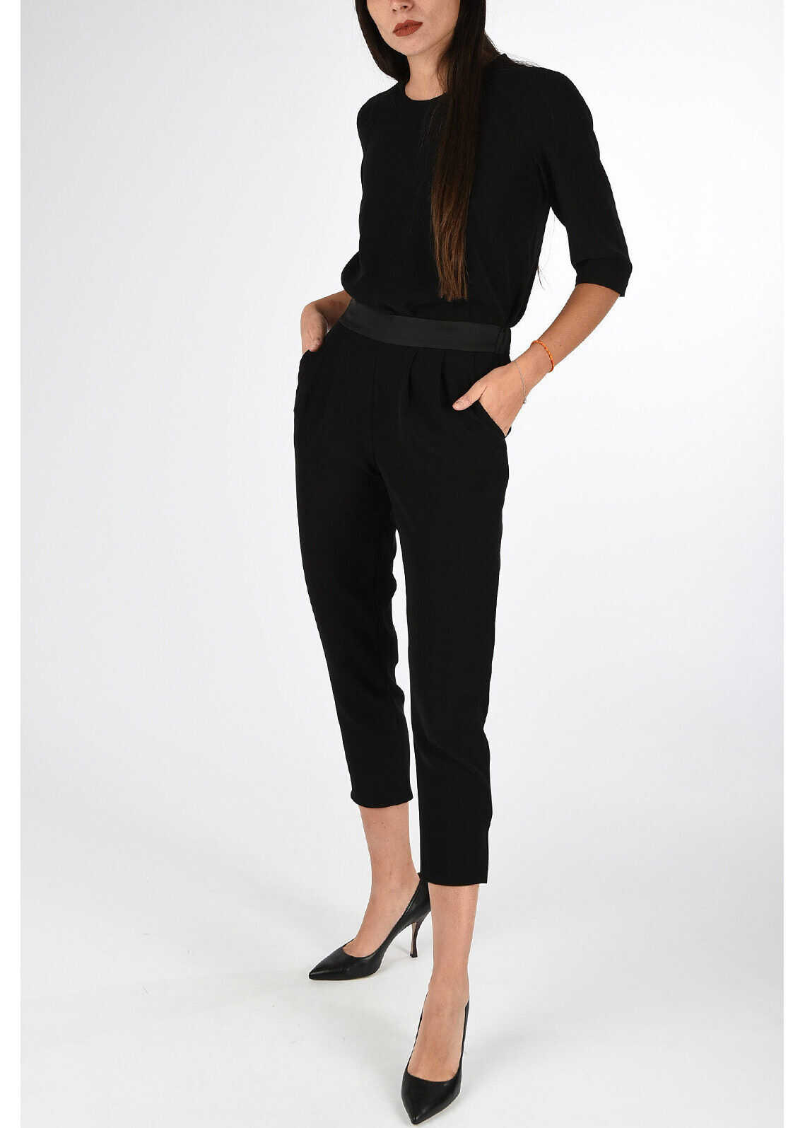 Armani COLLEZIONI Two Pieces Short Sleeve Jumpsuit BLACK