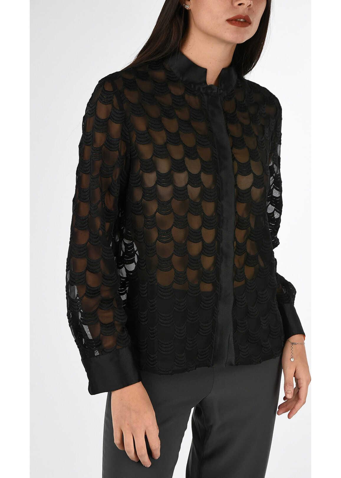 Armani COLLEZIONI Embroidered Blouse BLACK