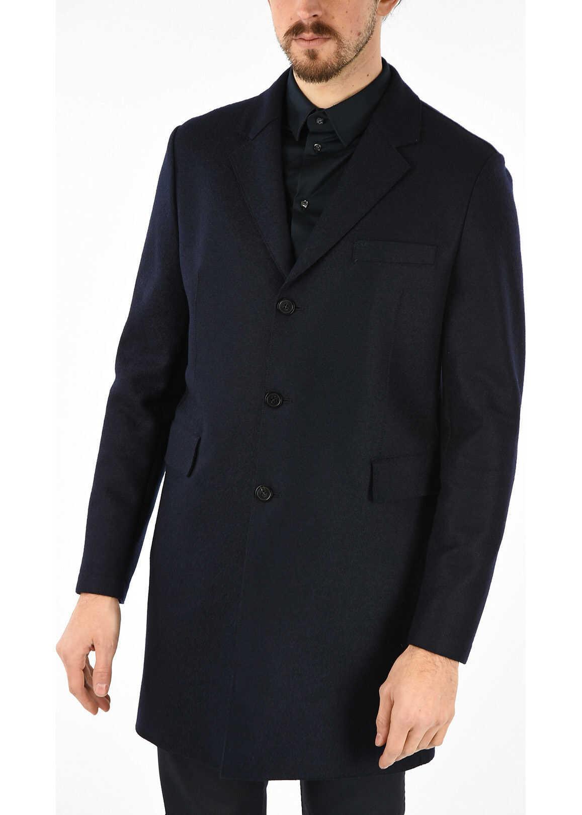 Armani EMPORIO Wool Single Breasted Coat BLUE