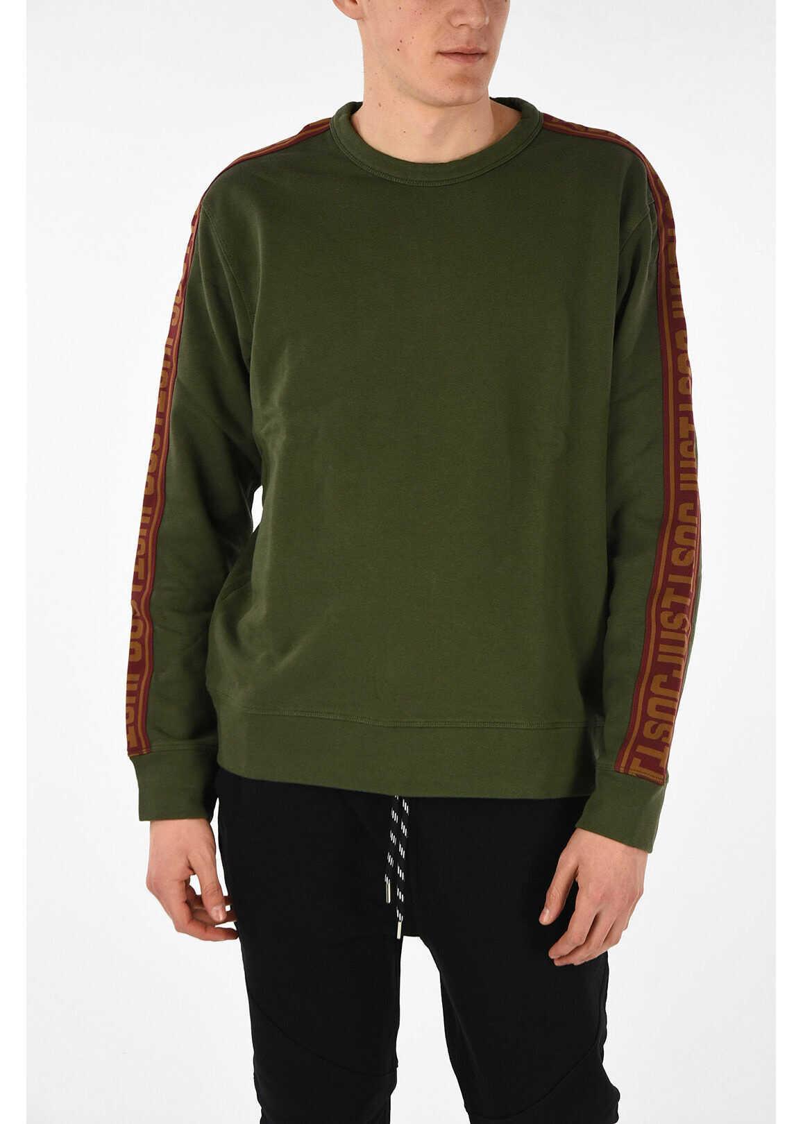Just Cavalli Round Neck Sweater MILITARY GREEN imagine
