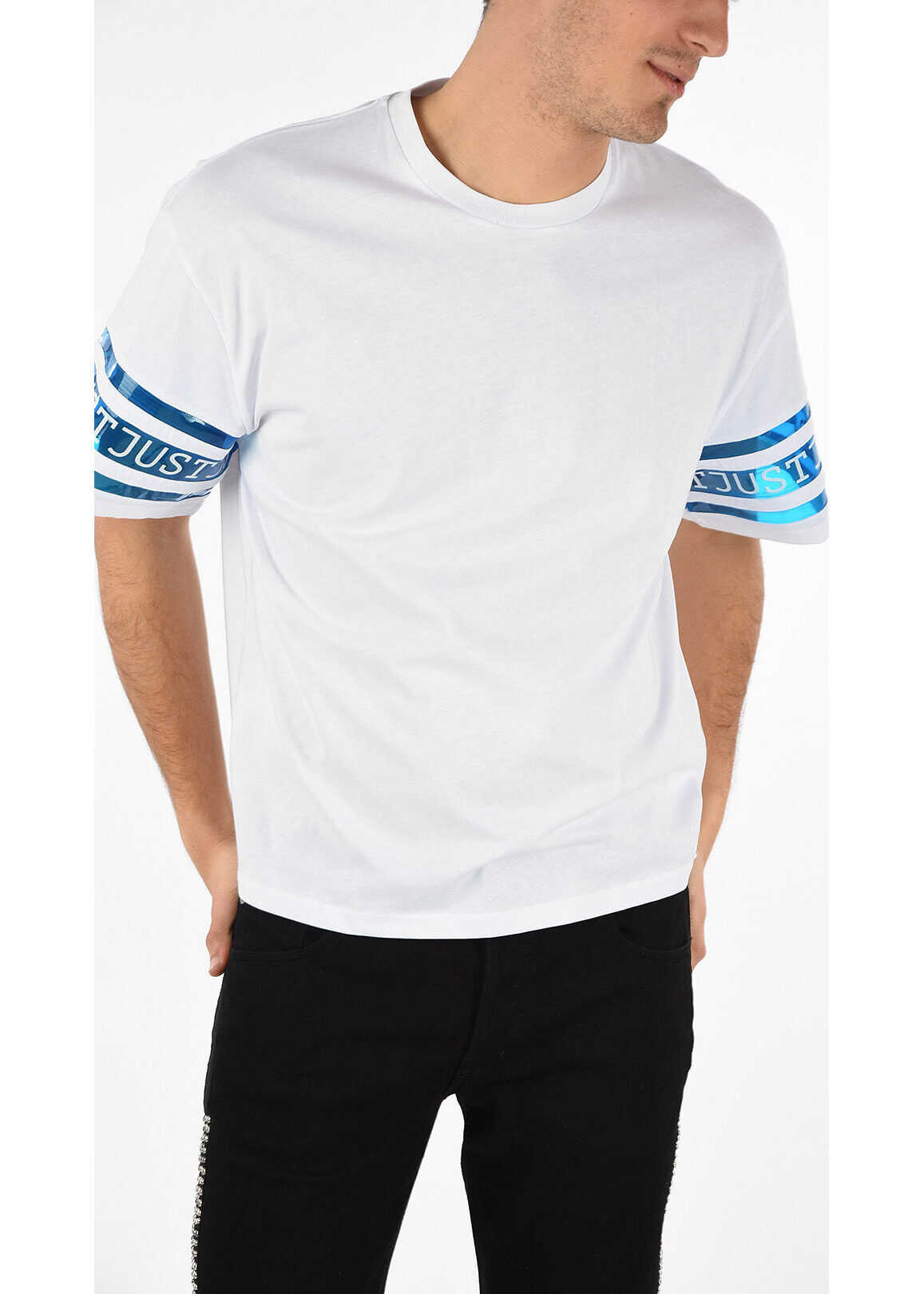 Just Cavalli Oversized T-shirt with Printed Logo WHITE