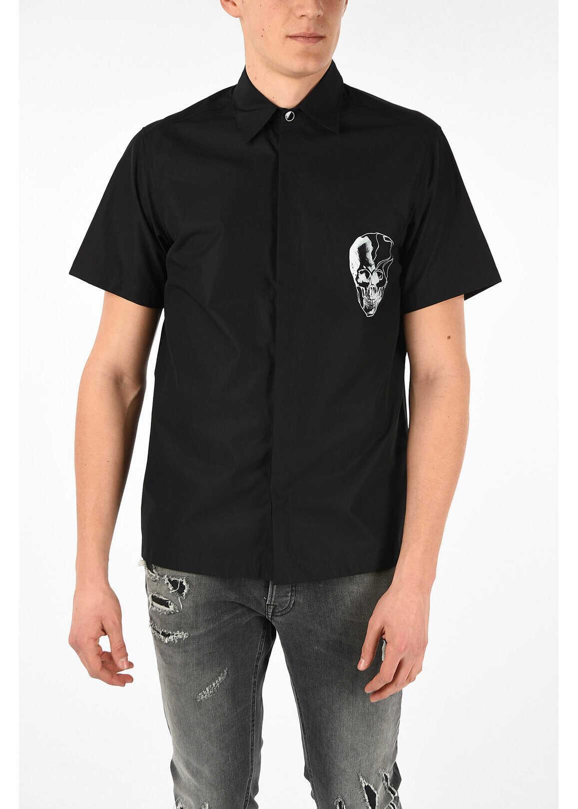 Just Cavalli Short Sleeve Printed Shirt BLACK