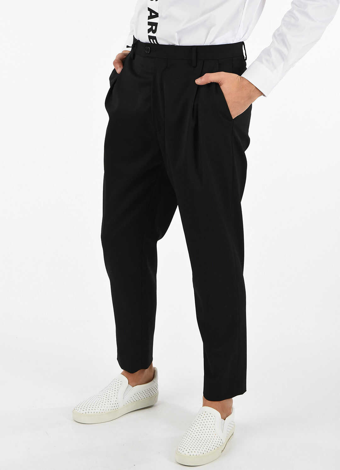 Just Cavalli Trousers with Logo Side Band BLACK
